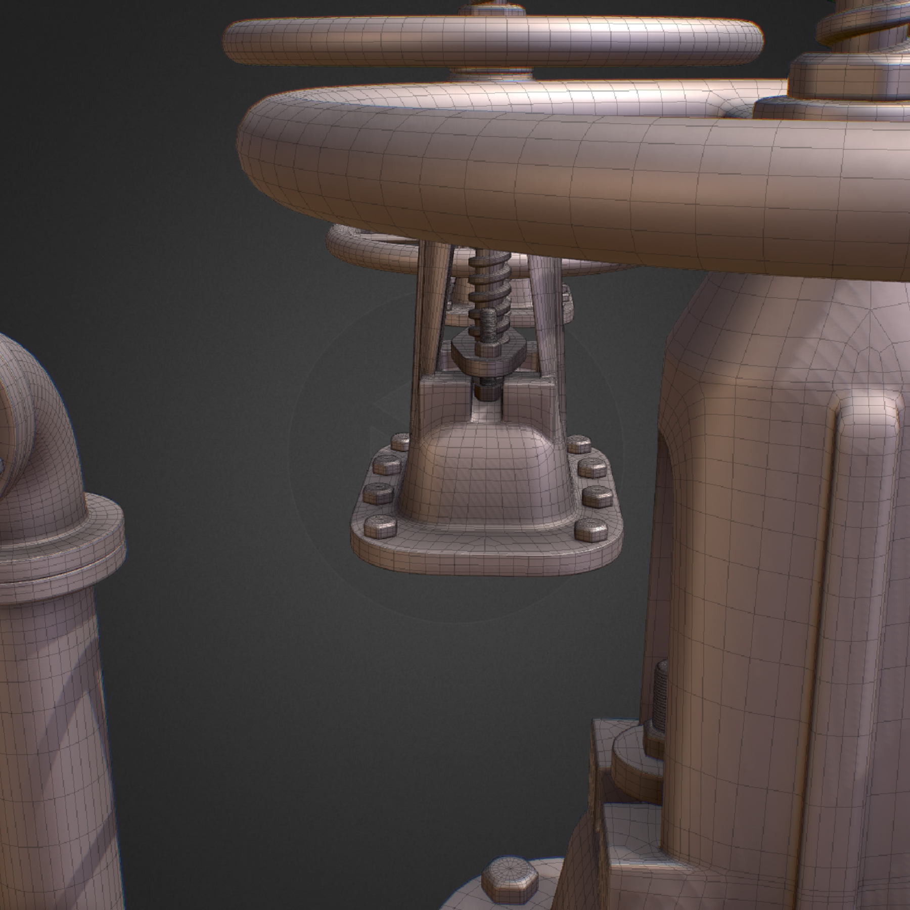 hi poly subdivision backflow pipe constructor 3d model max  fbx ma mb obj 272525