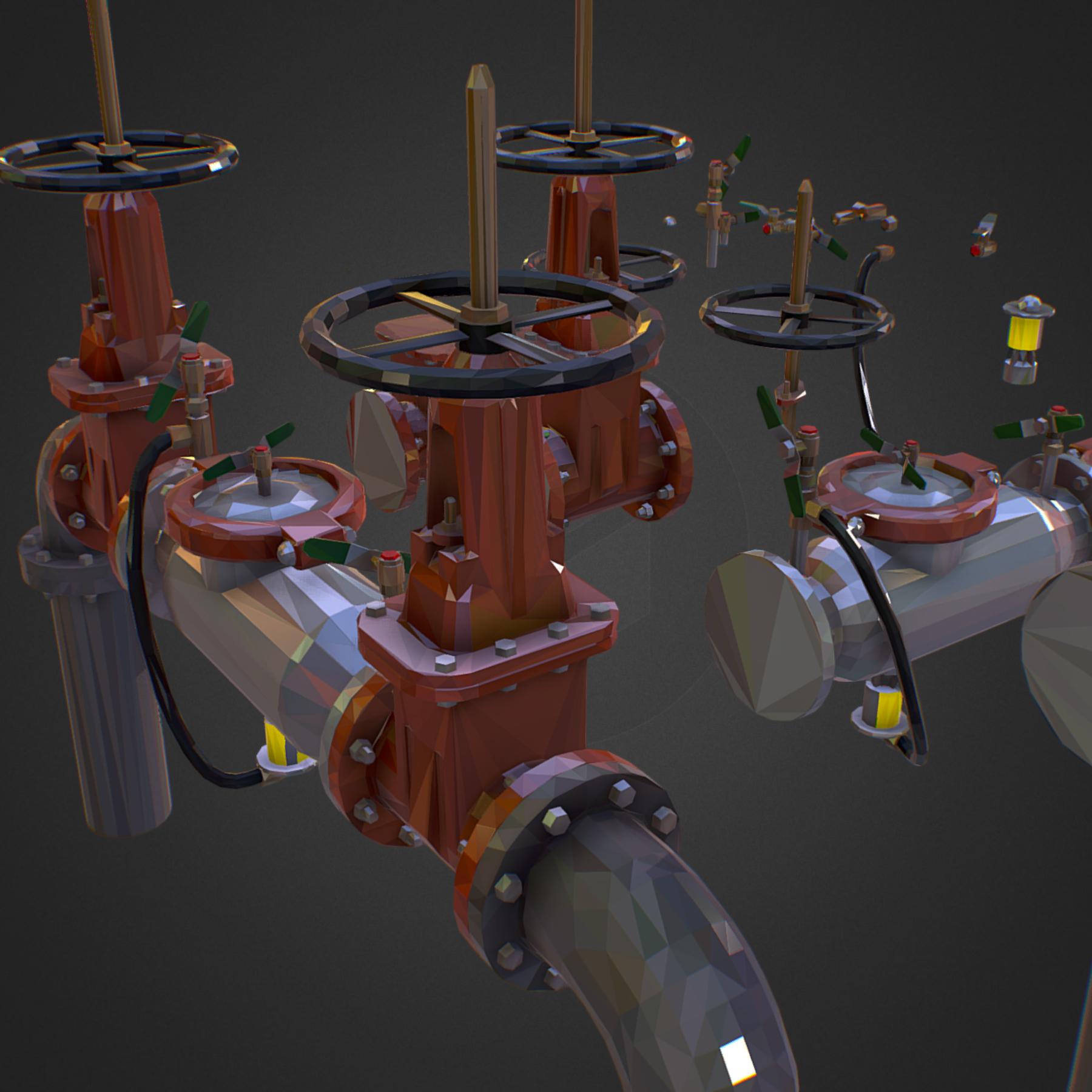 χαμηλός πολυεστιακός κατασκευαστής σωληνώσεων νερού επιστροφής ροής 3d max fbx ma mb tga targa icb vda vst pix obj 272537