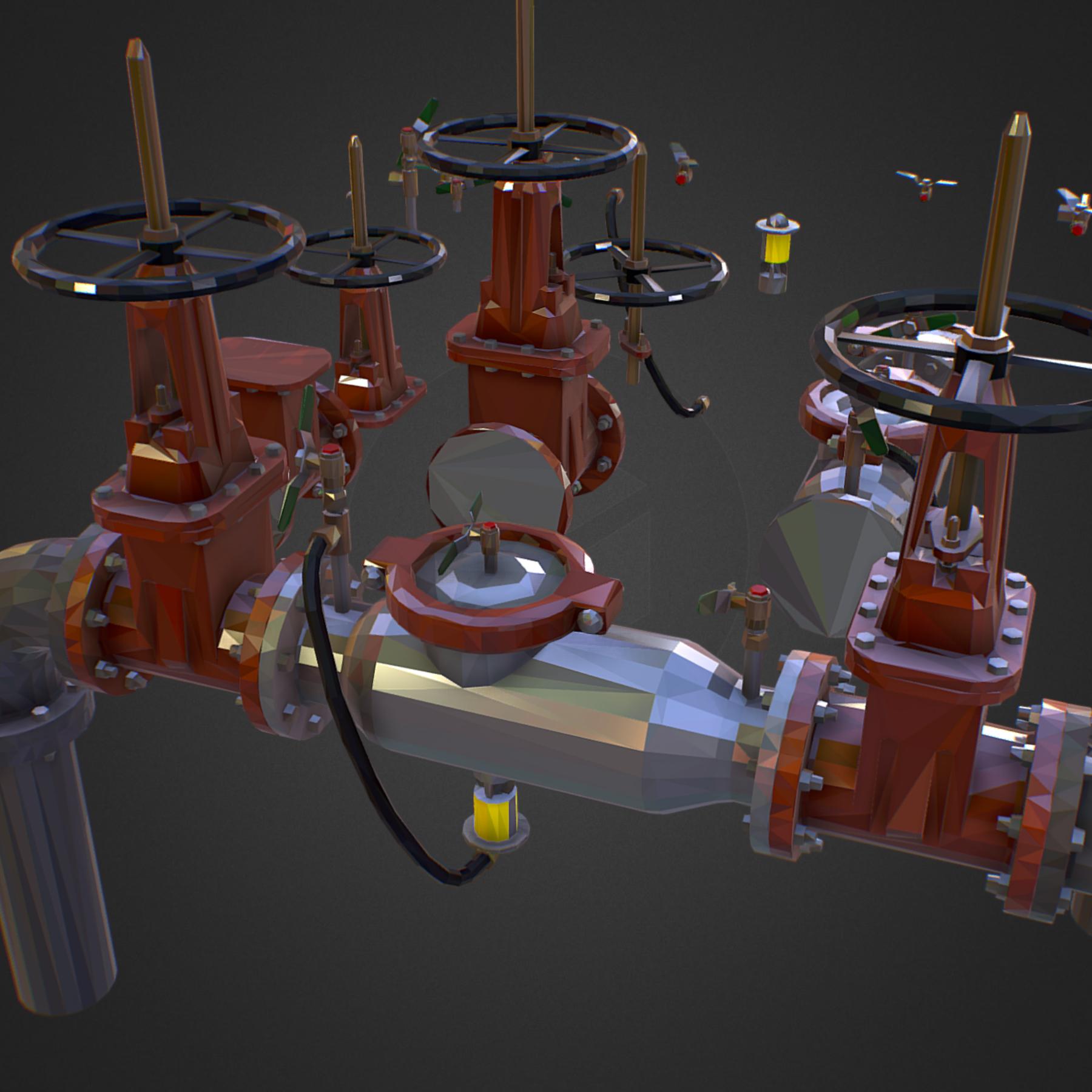χαμηλός πολυεστιακός κατασκευαστής σωληνώσεων νερού επιστροφής ροής 3d max fbx ma mb tga targa icb vda vst pix obj 272538
