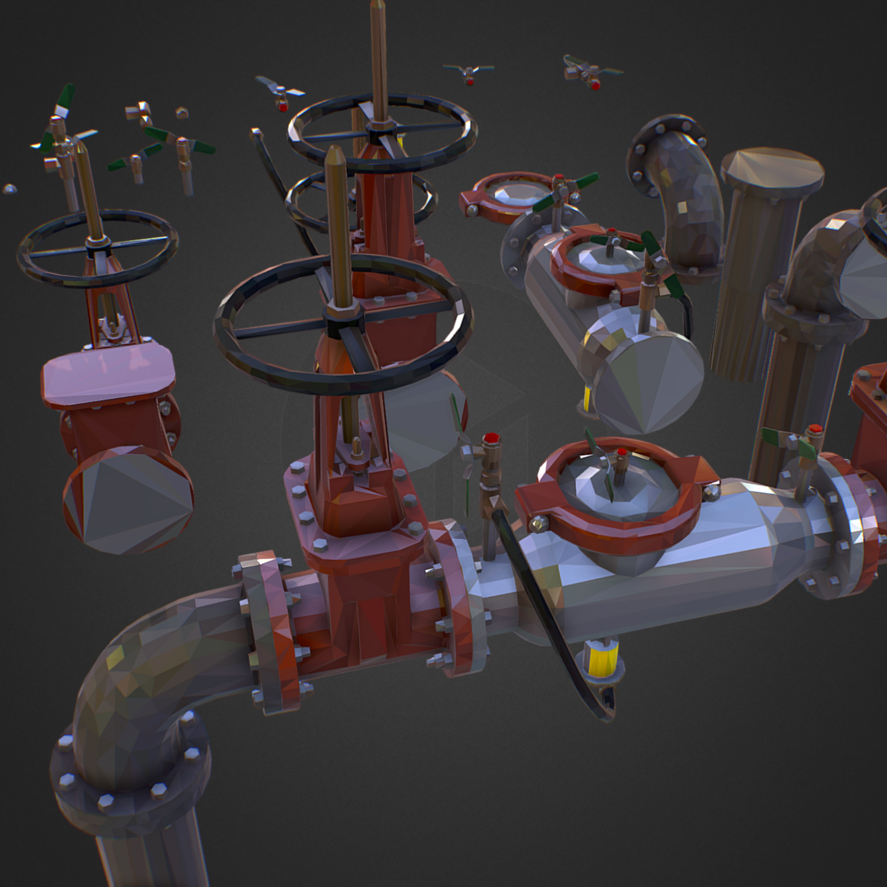Low Poly ART Backflow Water Pipe Constructor 3d model max 3ds max plugin fbx ma mb tga targa icb vda vst pix obj 272540