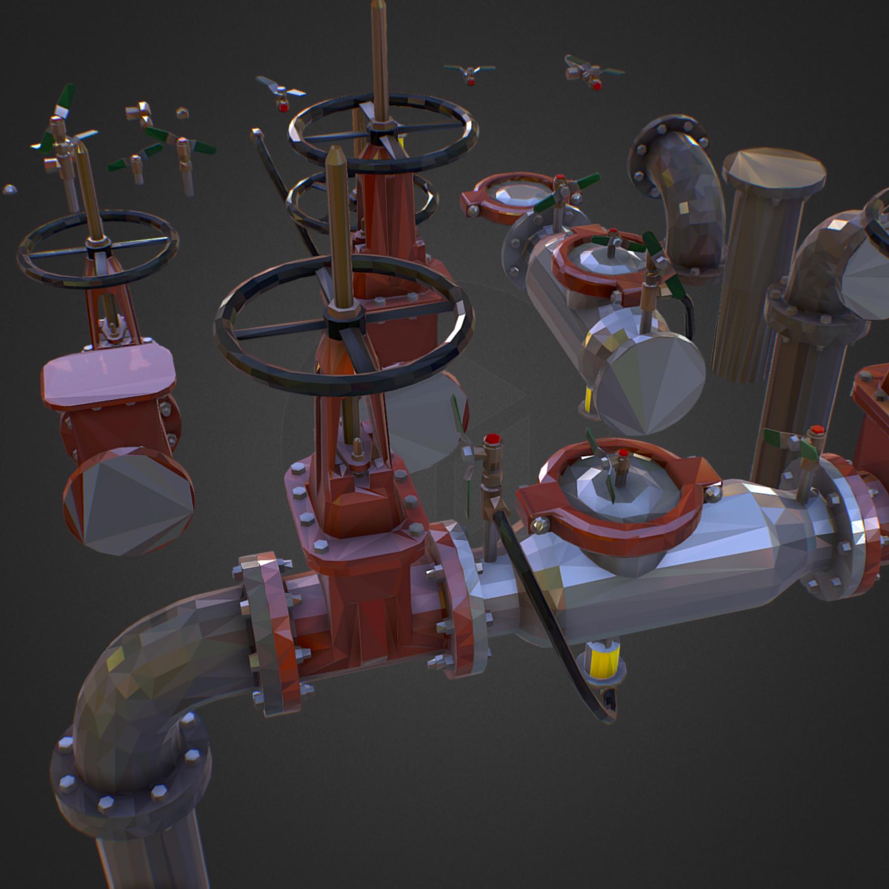 χαμηλός πολυεστιακός κατασκευαστής σωληνώσεων νερού επιστροφής ροής 3d max fbx ma mb tga targa icb vda vst pix obj 272540