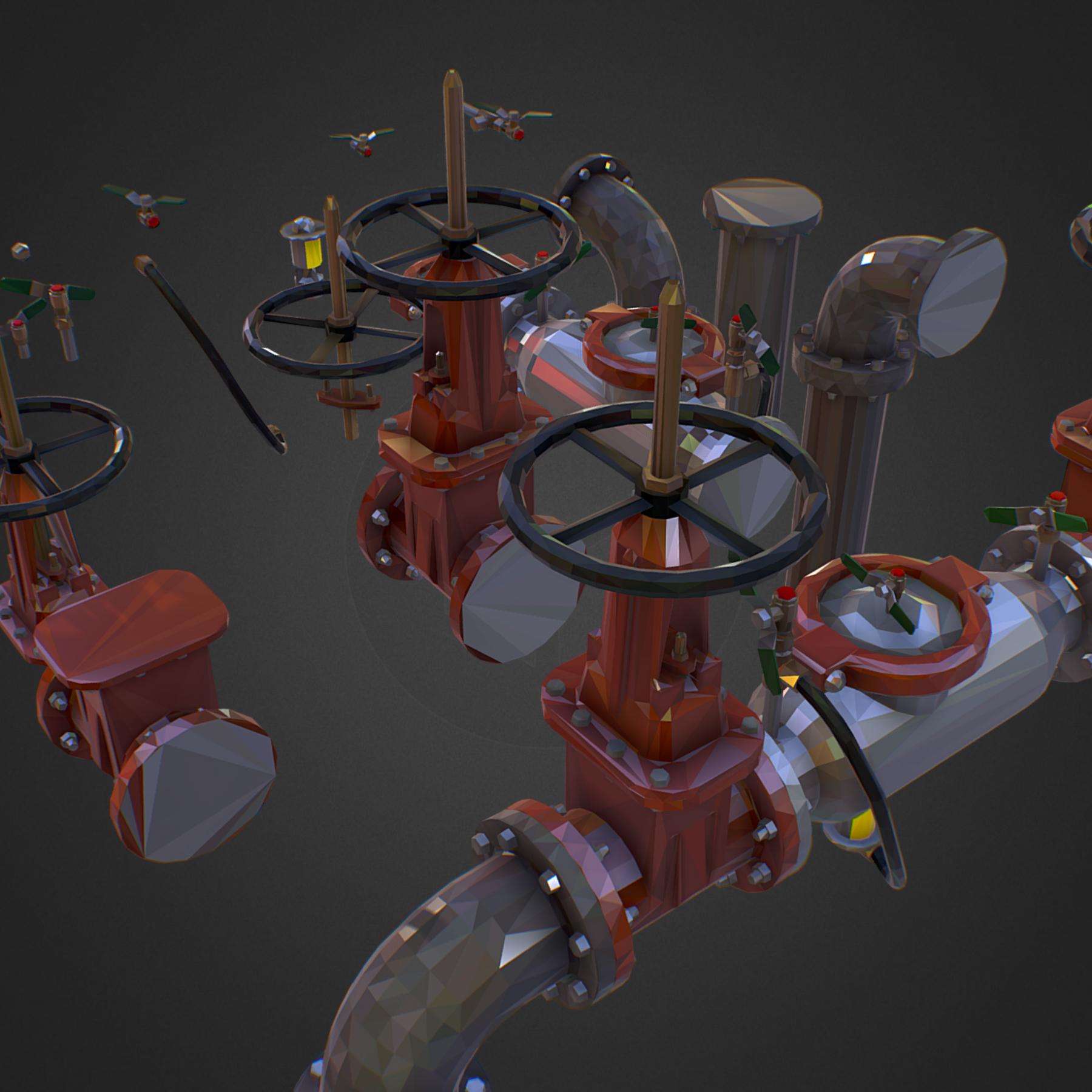 Low Poly ART Backflow Water Pipe Constructor 3d model max 3ds max plugin fbx ma mb tga targa icb vda vst pix obj 272542