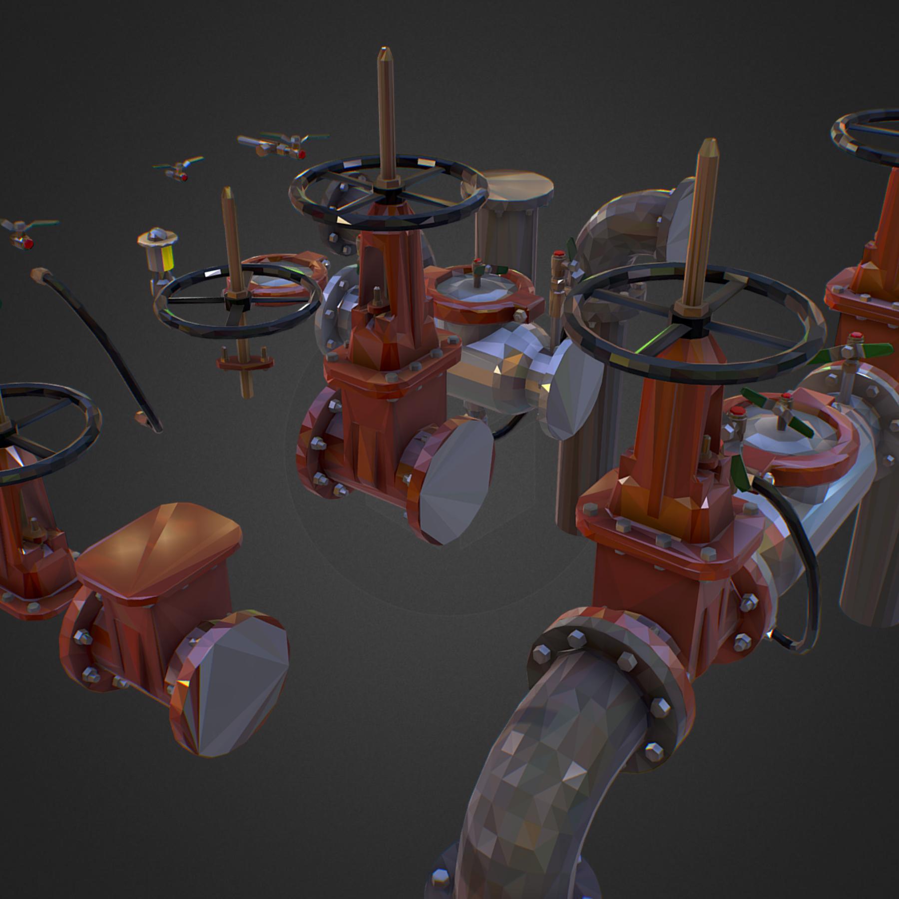 Low Poly ART Backflow Water Pipe Constructor 3d model max 3ds max plugin fbx ma mb tga targa icb vda vst pix obj 272543
