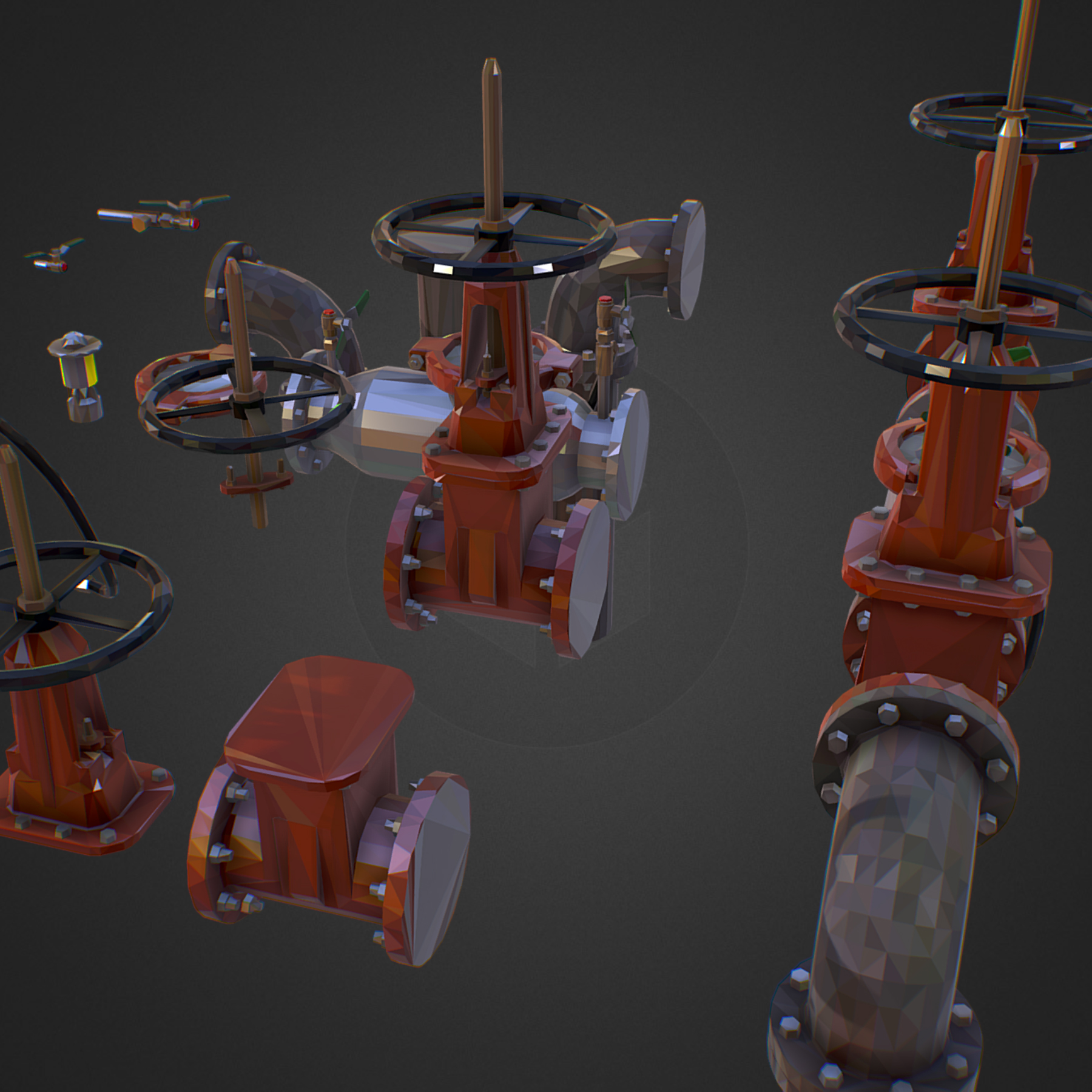 χαμηλός πολυεστιακός κατασκευαστής σωληνώσεων νερού επιστροφής ροής 3d max fbx ma mb tga targa icb vda vst pix obj 272544