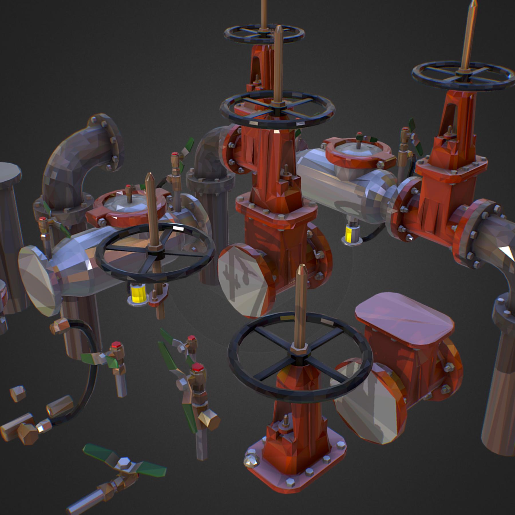 Low Poly ART Backflow Water Pipe Constructor 3d model max 3ds max plugin fbx ma mb tga targa icb vda vst pix obj 272546