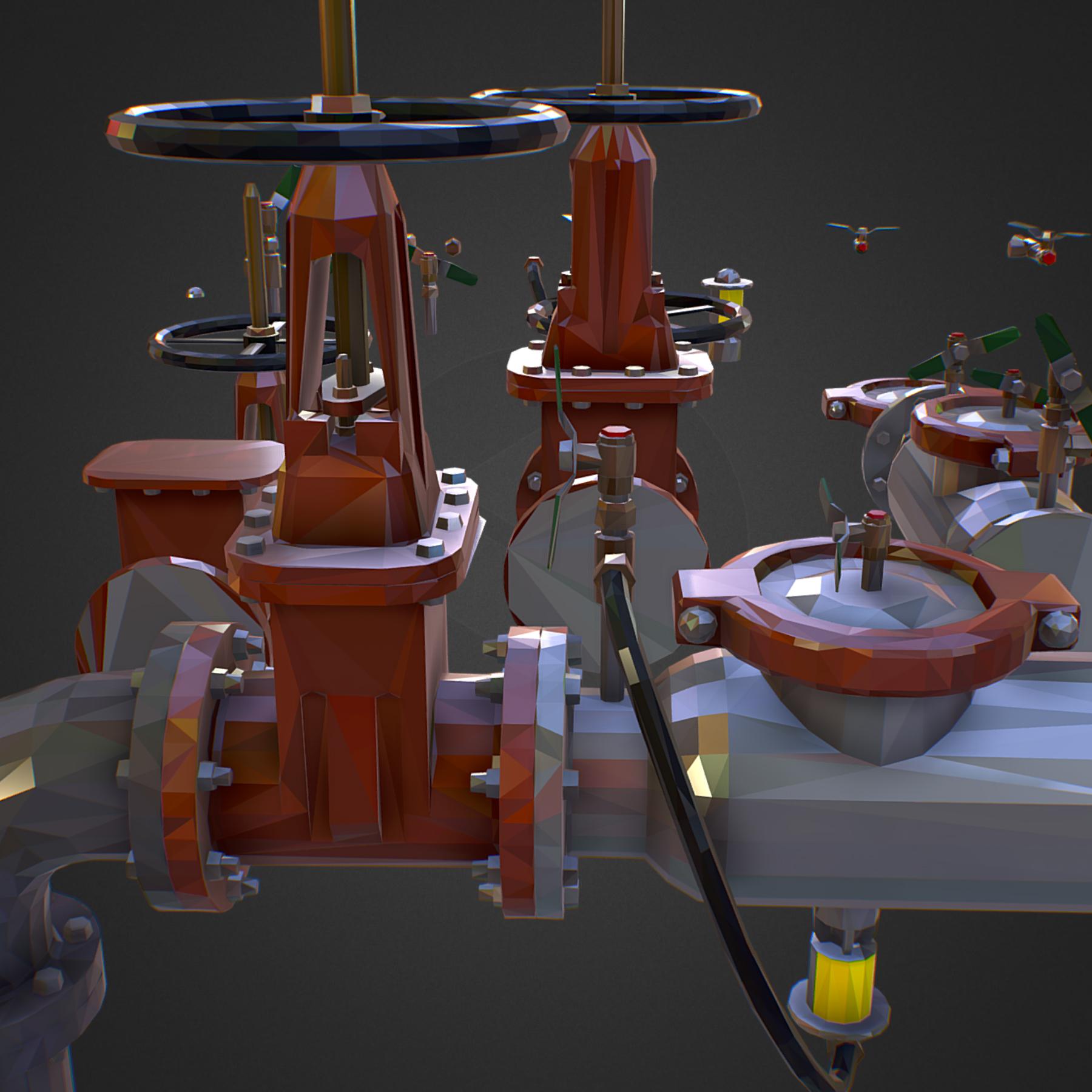 χαμηλός πολυεστιακός κατασκευαστής σωληνώσεων νερού επιστροφής ροής 3d max fbx ma mb tga targa icb vda vst pix obj 272555