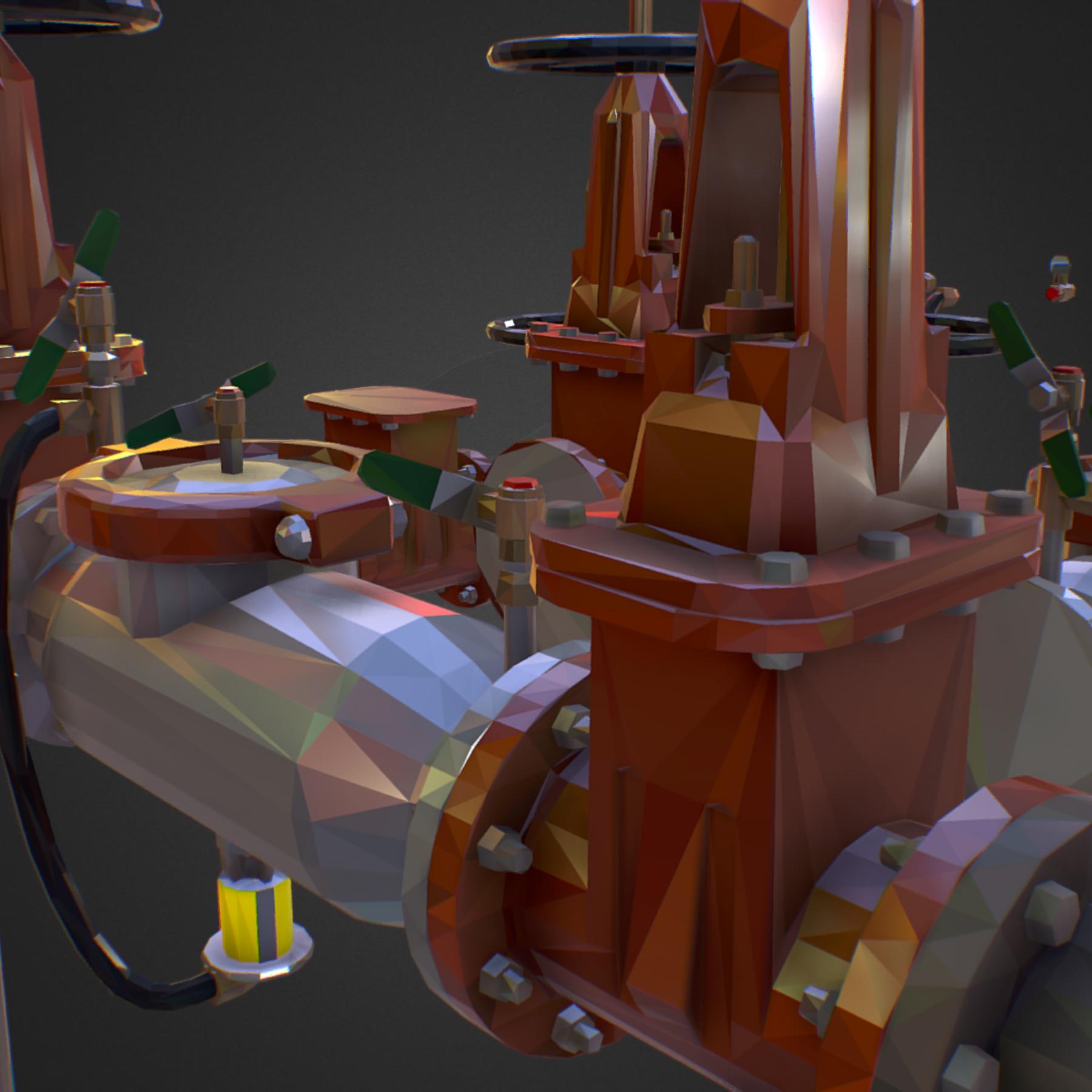 χαμηλός πολυεστιακός κατασκευαστής σωληνώσεων νερού επιστροφής ροής 3d max fbx ma mb tga targa icb vda vst pix obj 272556