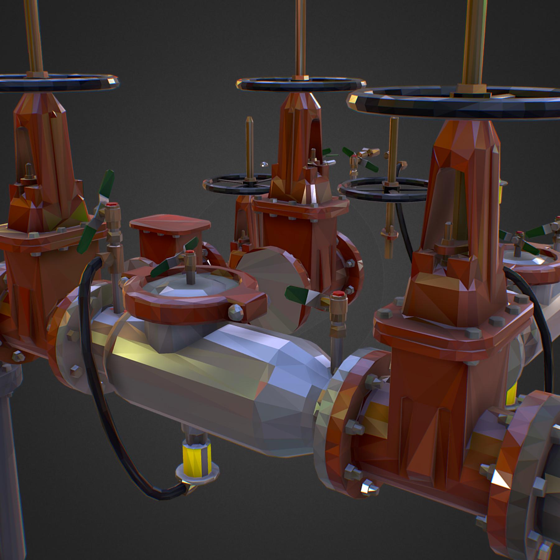 χαμηλός πολυεστιακός κατασκευαστής σωληνώσεων νερού επιστροφής ροής 3d max fbx ma mb tga targa icb vda vst pix obj 272557