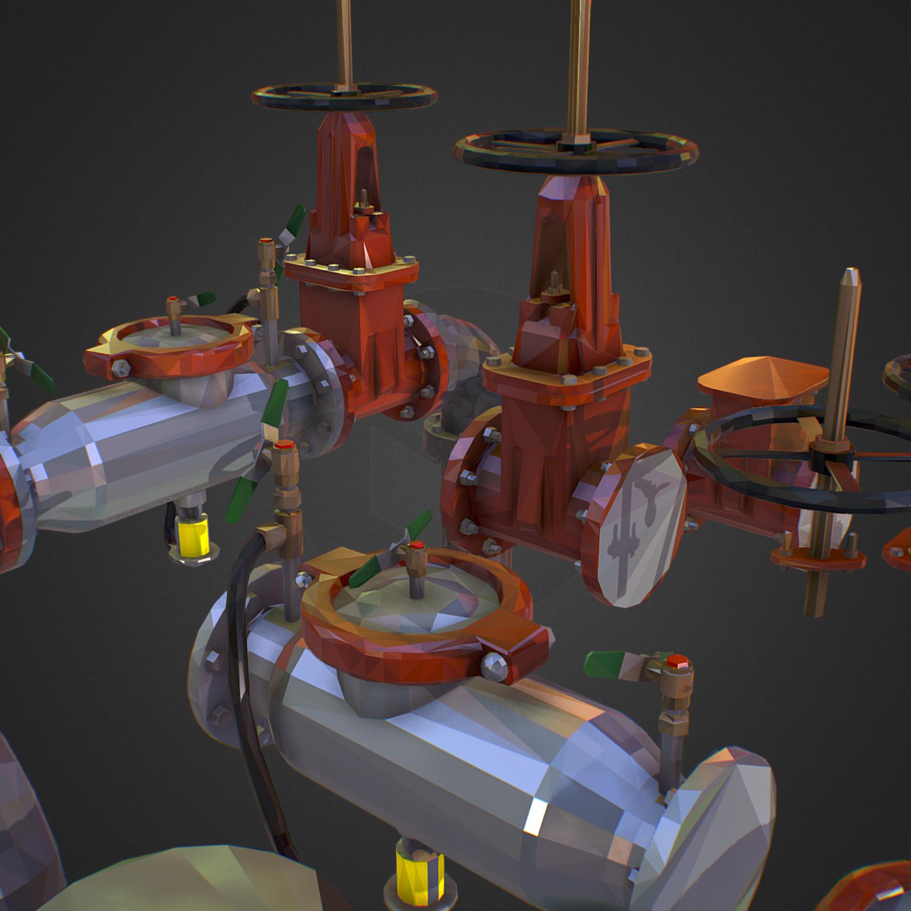 Low Poly ART Backflow Water Pipe Constructor 3d model max 3ds max plugin fbx ma mb tga targa icb vda vst pix obj 272558