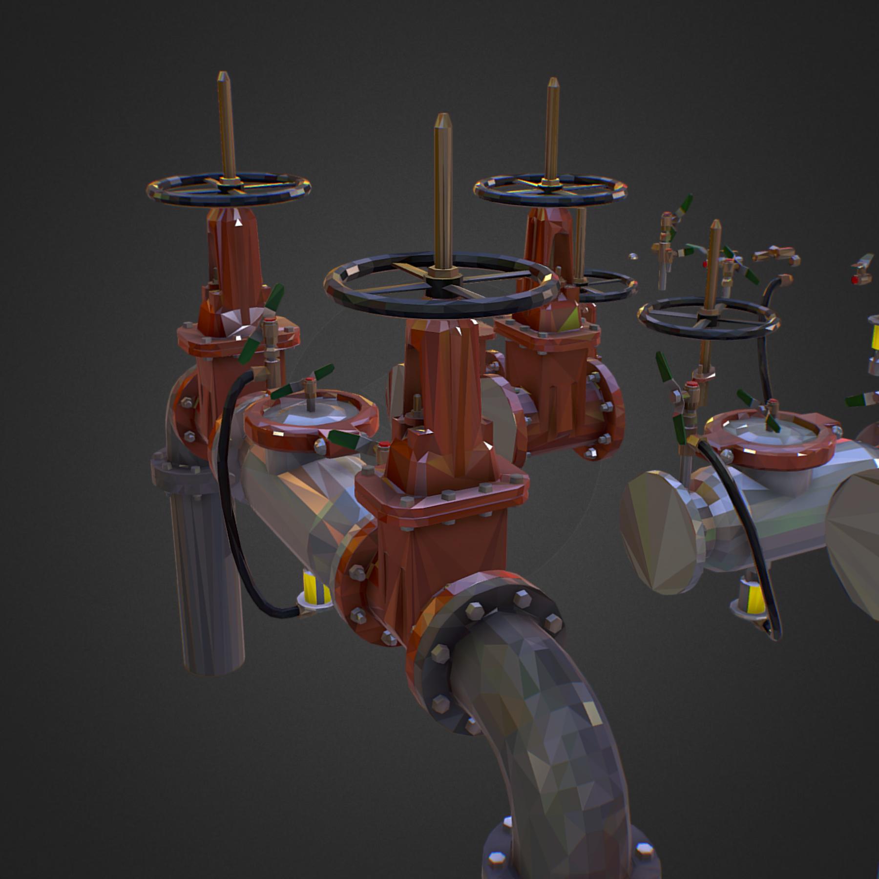 Low Poly ART Backflow Water Pipe Constructor 3d model max 3ds max plugin fbx ma mb tga targa icb vda vst pix obj 272561