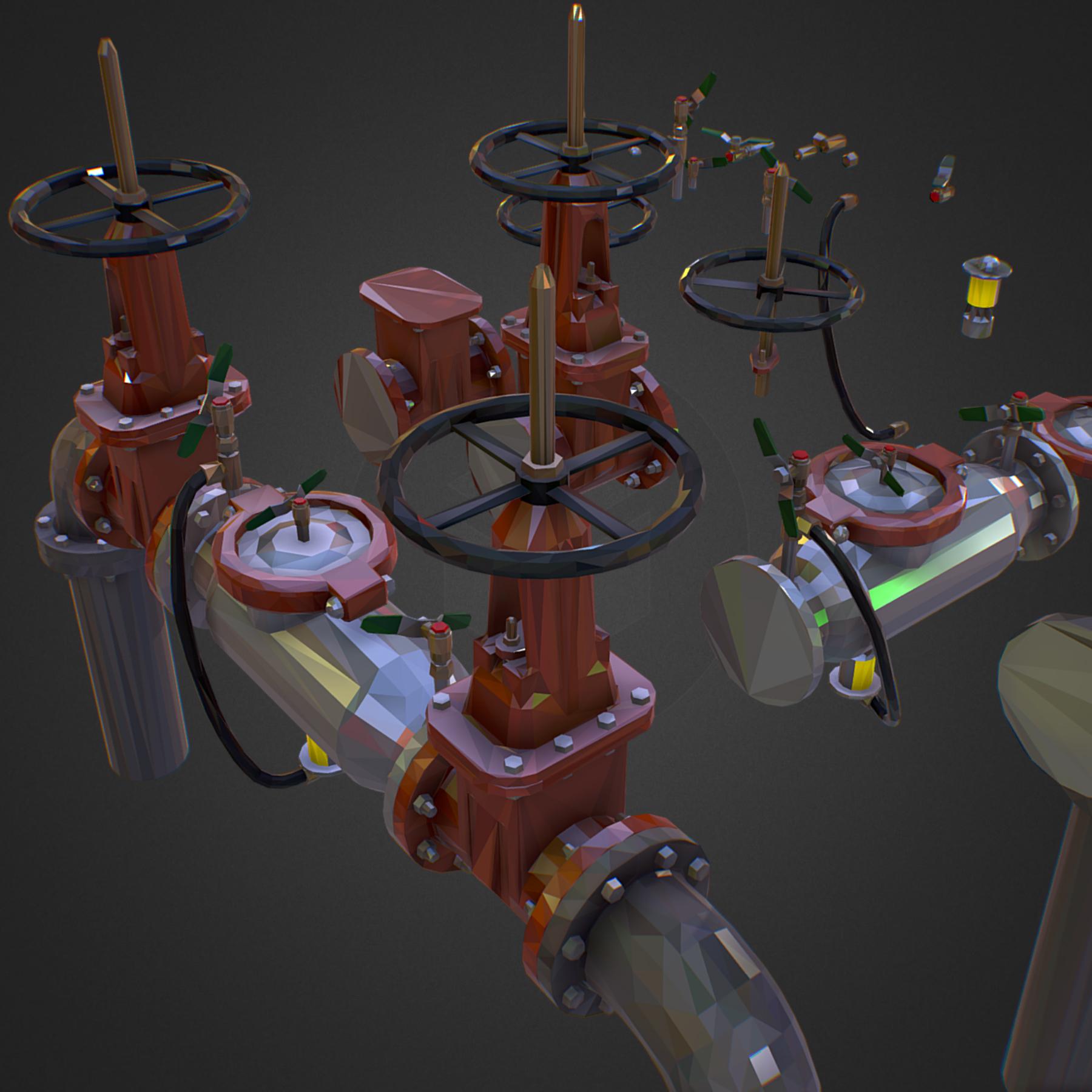 Low Poly ART Backflow Water Pipe Constructor 3d model max 3ds max plugin fbx ma mb tga targa icb vda vst pix obj 272562