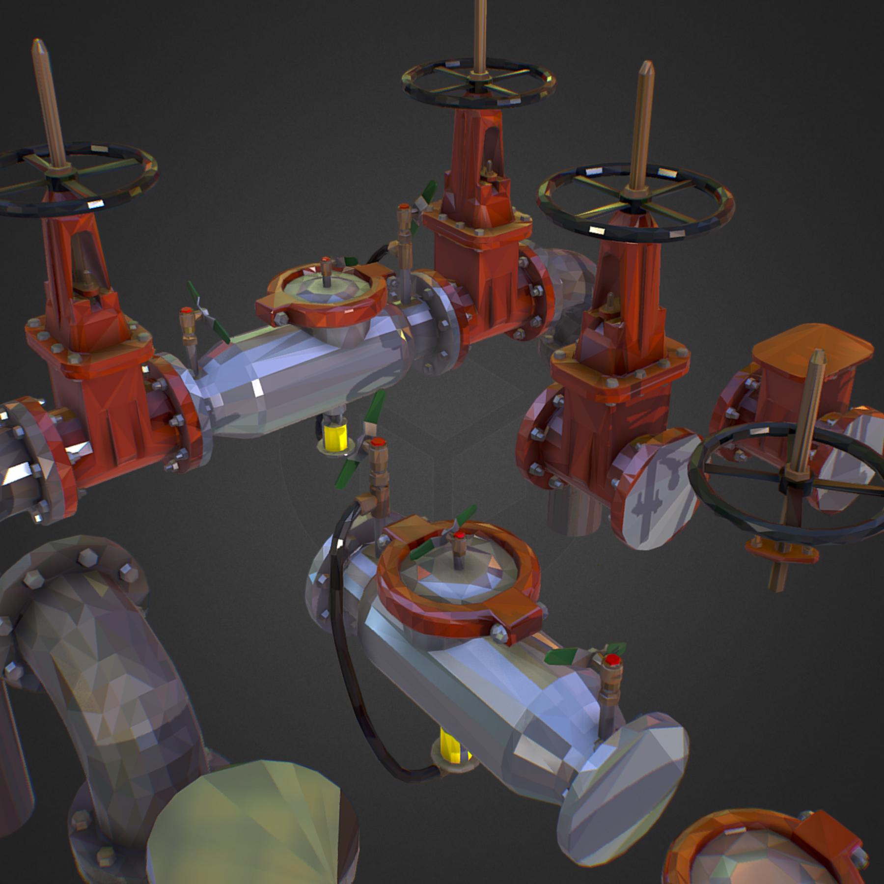Low Poly ART Backflow Water Pipe Constructor 3d model max 3ds max plugin fbx ma mb tga targa icb vda vst pix obj 272563