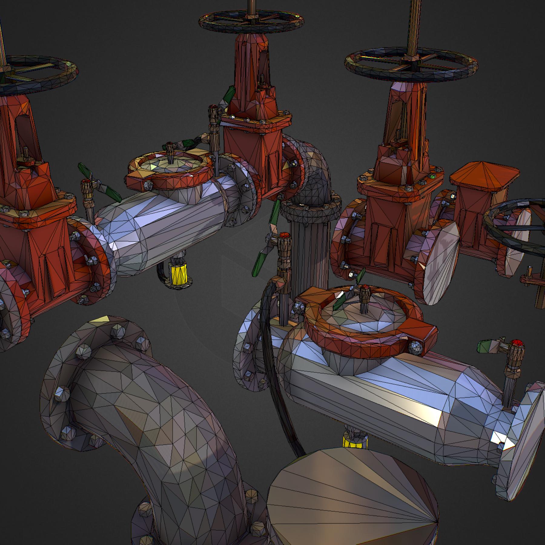 Low Poly ART Backflow Water Pipe Constructor 3d model max 3ds max plugin fbx ma mb tga targa icb vda vst pix obj 272567