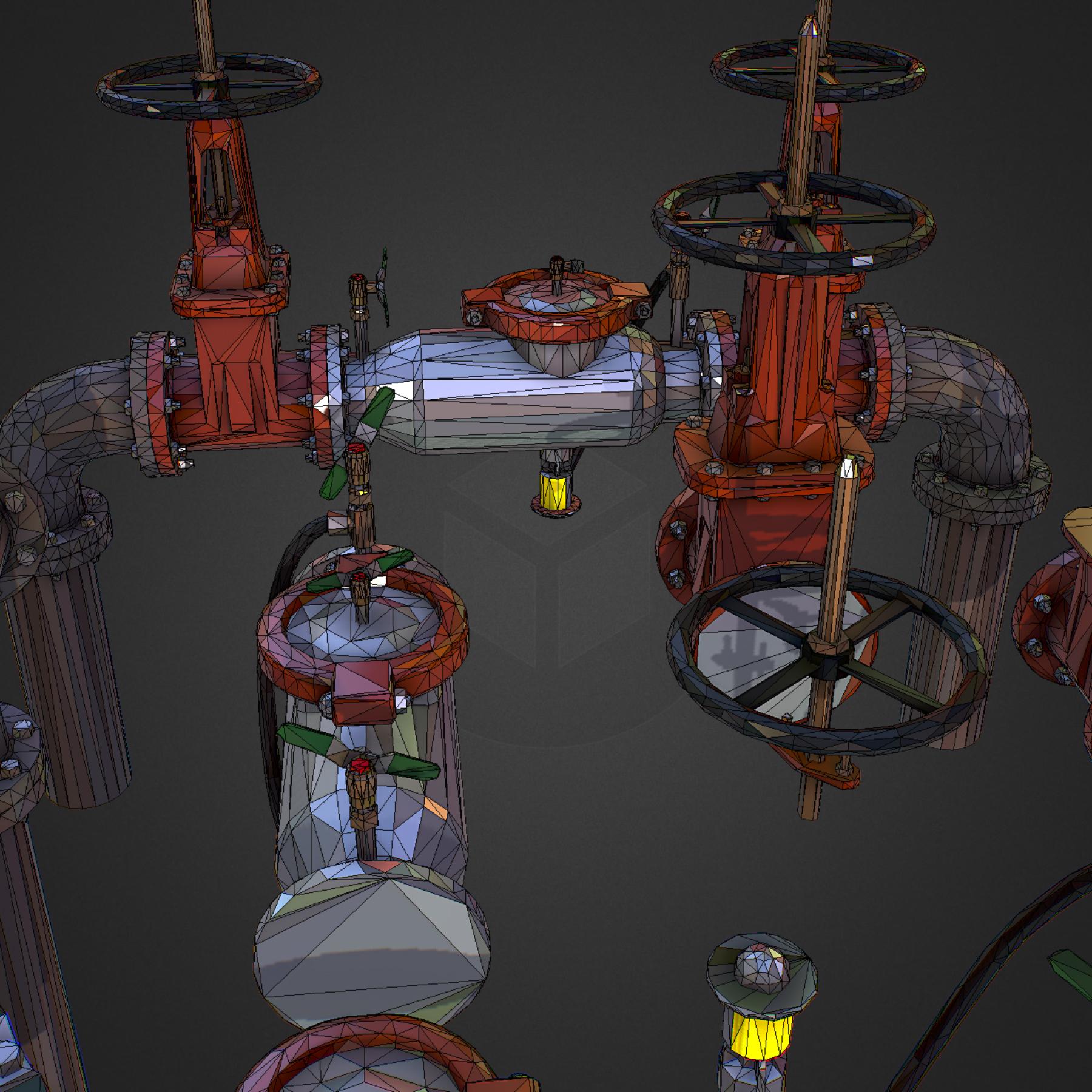 Low Poly ART Backflow Water Pipe Constructor 3d model max 3ds max plugin fbx ma mb tga targa icb vda vst pix obj 272570