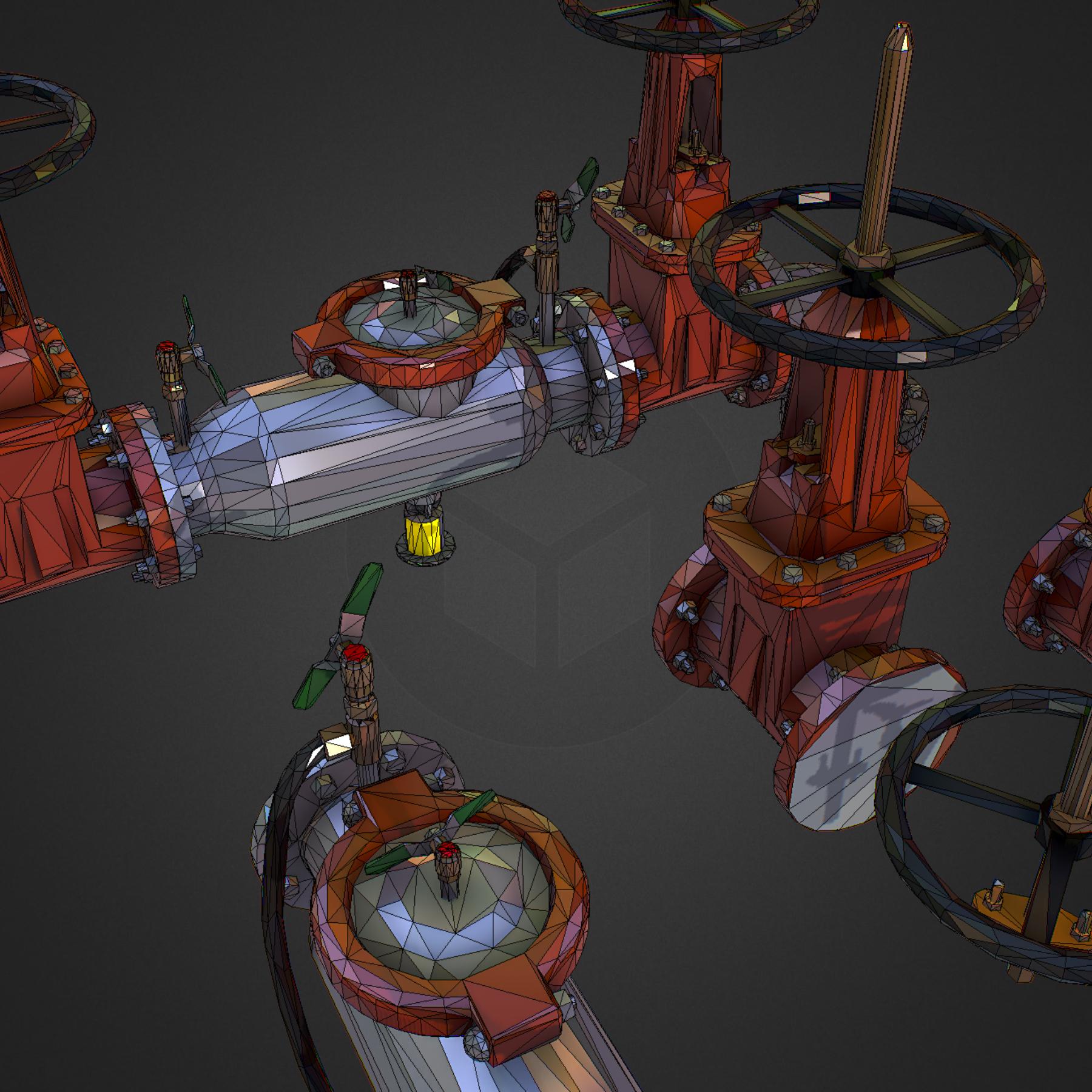Low Poly ART Backflow Water Pipe Constructor 3d model max 3ds max plugin fbx ma mb tga targa icb vda vst pix obj 272571