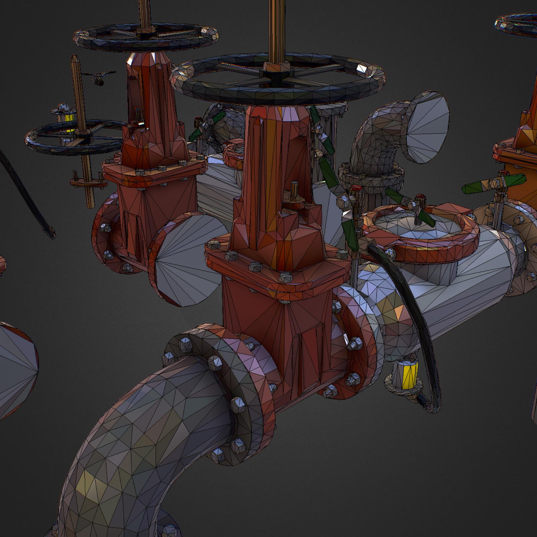 Low Poly ART Backflow Water Pipe Constructor 3d model max 3ds max plugin fbx ma mb tga targa icb vda vst pix obj 272578