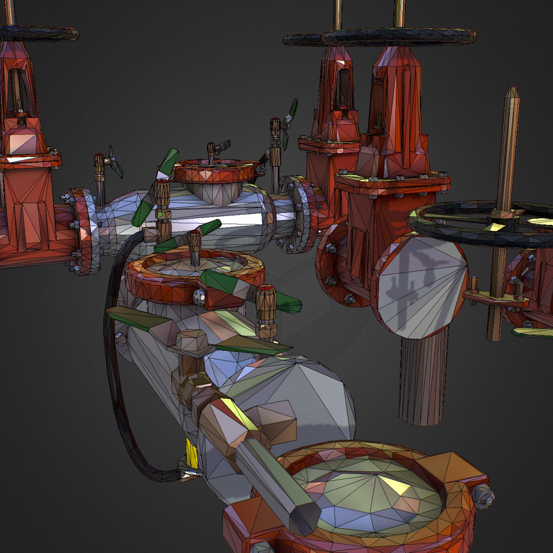 Low Poly ART Backflow Water Pipe Constructor 3d model max 3ds max plugin fbx ma mb tga targa icb vda vst pix obj 272584