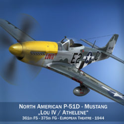 North American P-51D Mustang - Lou IV 3d model 0