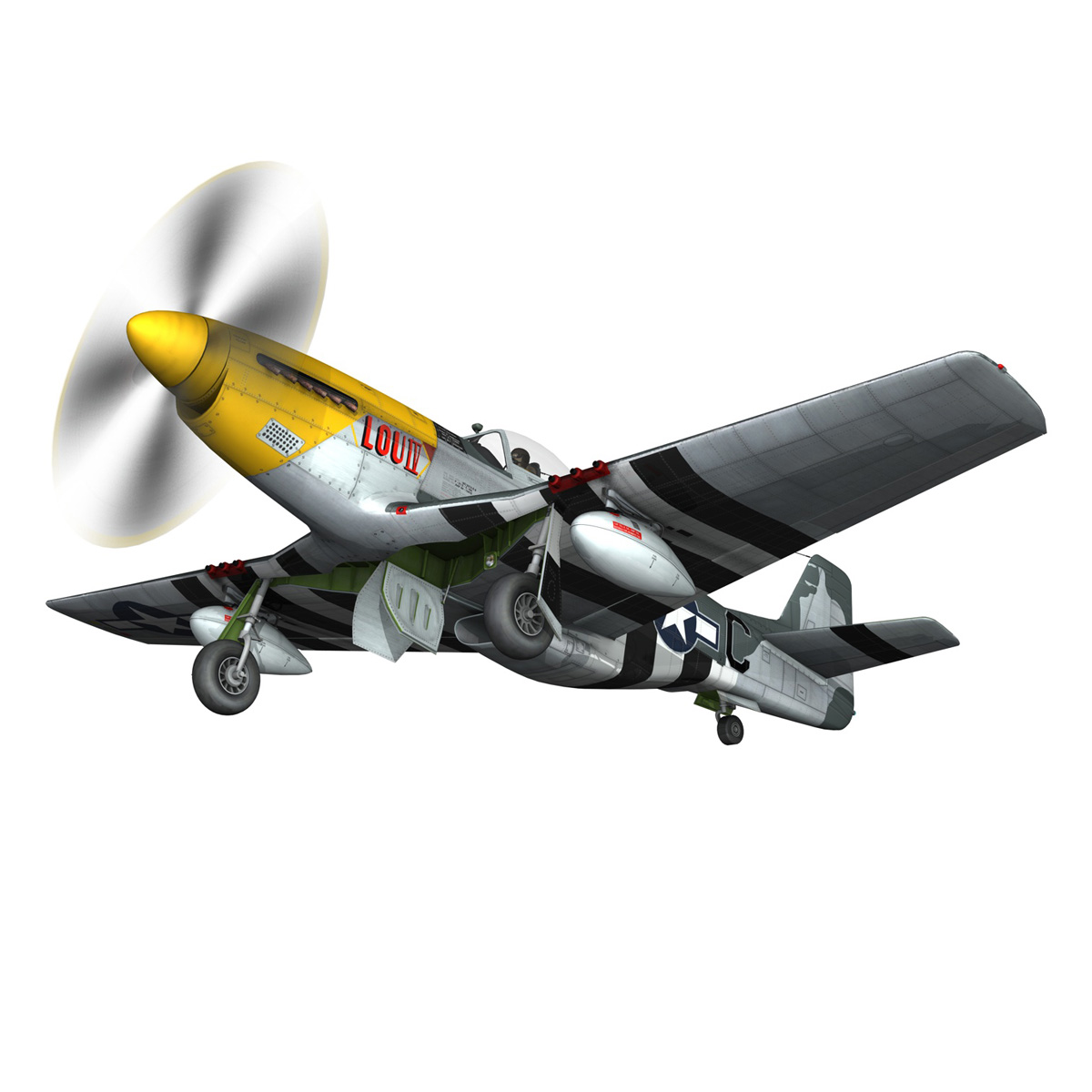 north american p-51d mustang – lou iv 3d model fbx c4d lwo obj 272606