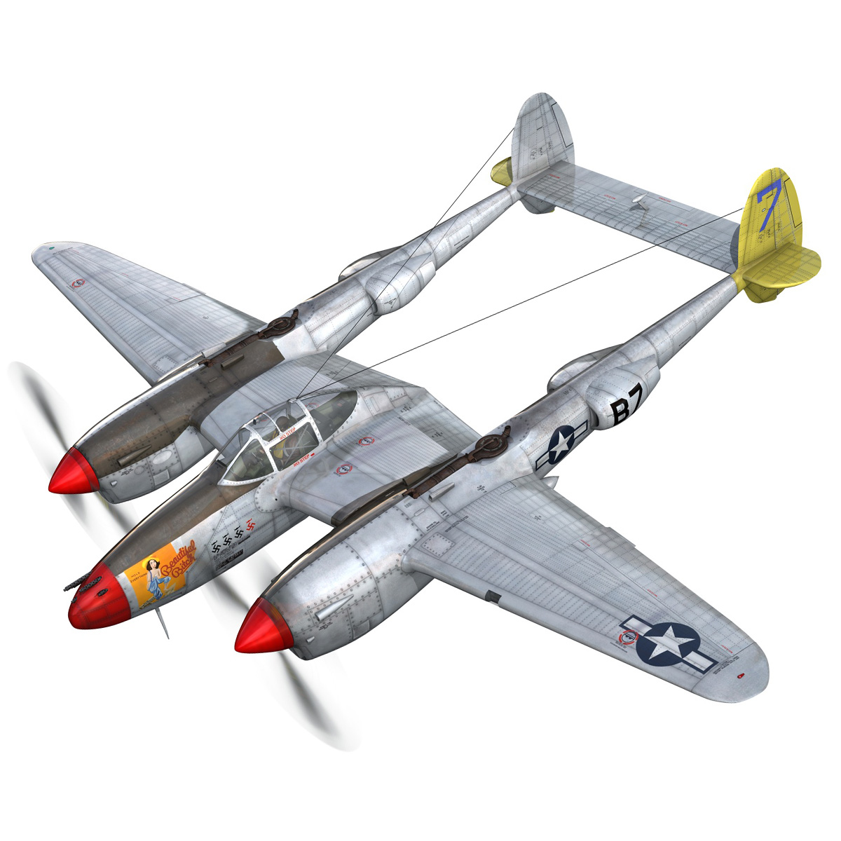 lockheed p-38 lightning – beautiful bitch 3d model fbx c4d lwo obj 272665