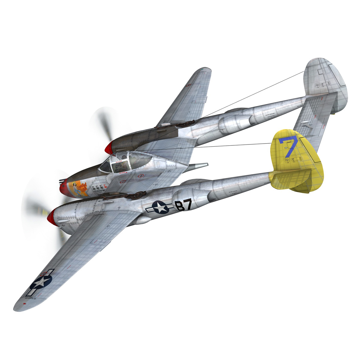 lockheed p-38 lightning – beautiful bitch 3d model fbx c4d lwo obj 272667