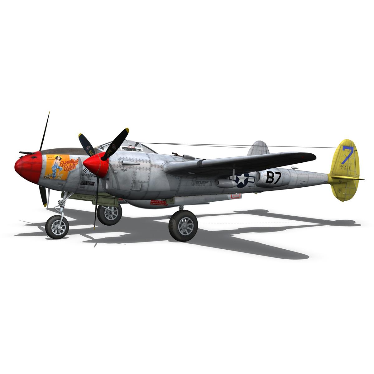 lockheed p-38 lightning – beautiful bitch 3d model fbx c4d lwo obj 272671
