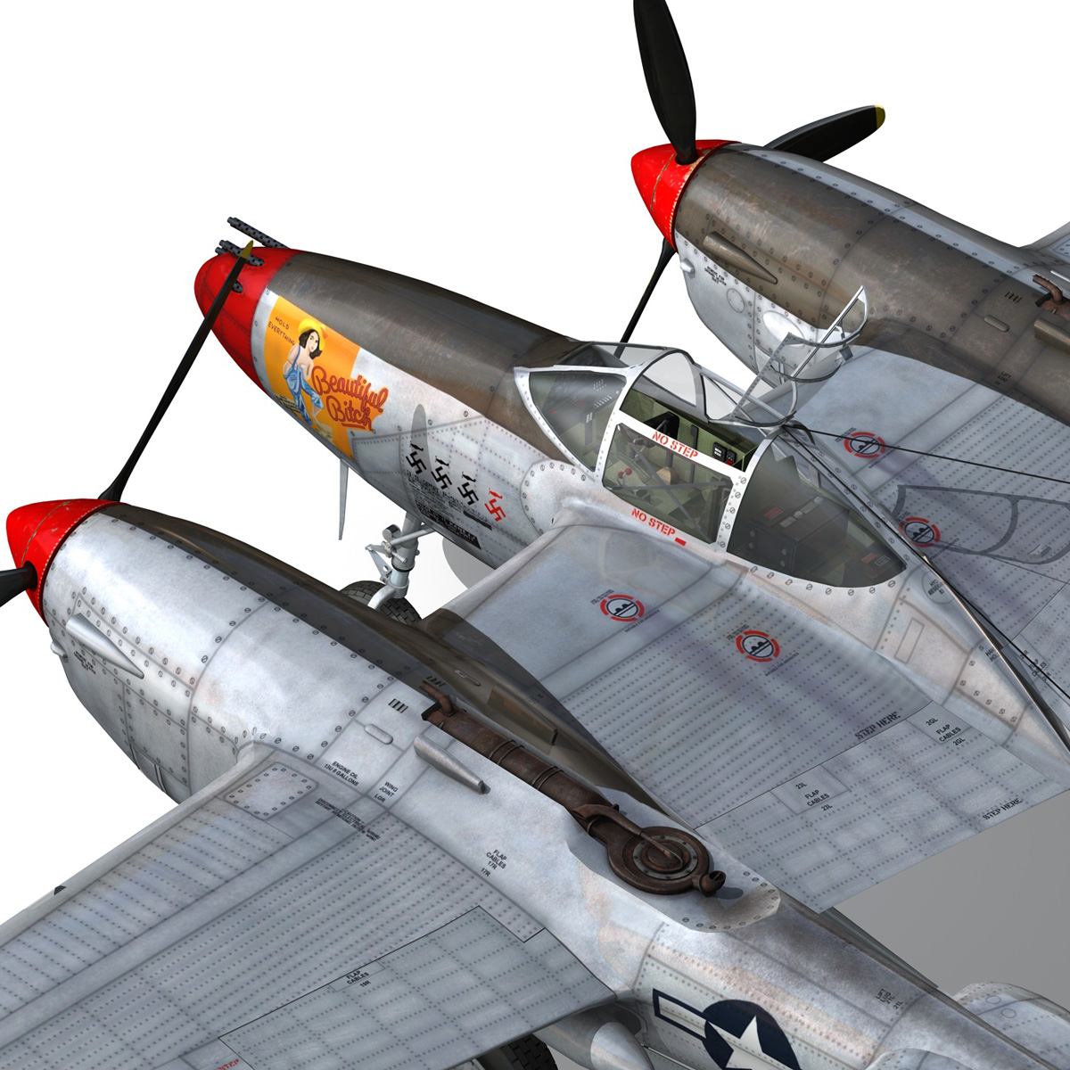 lockheed p-38 lightning – beautiful bitch 3d model fbx c4d lwo obj 272677