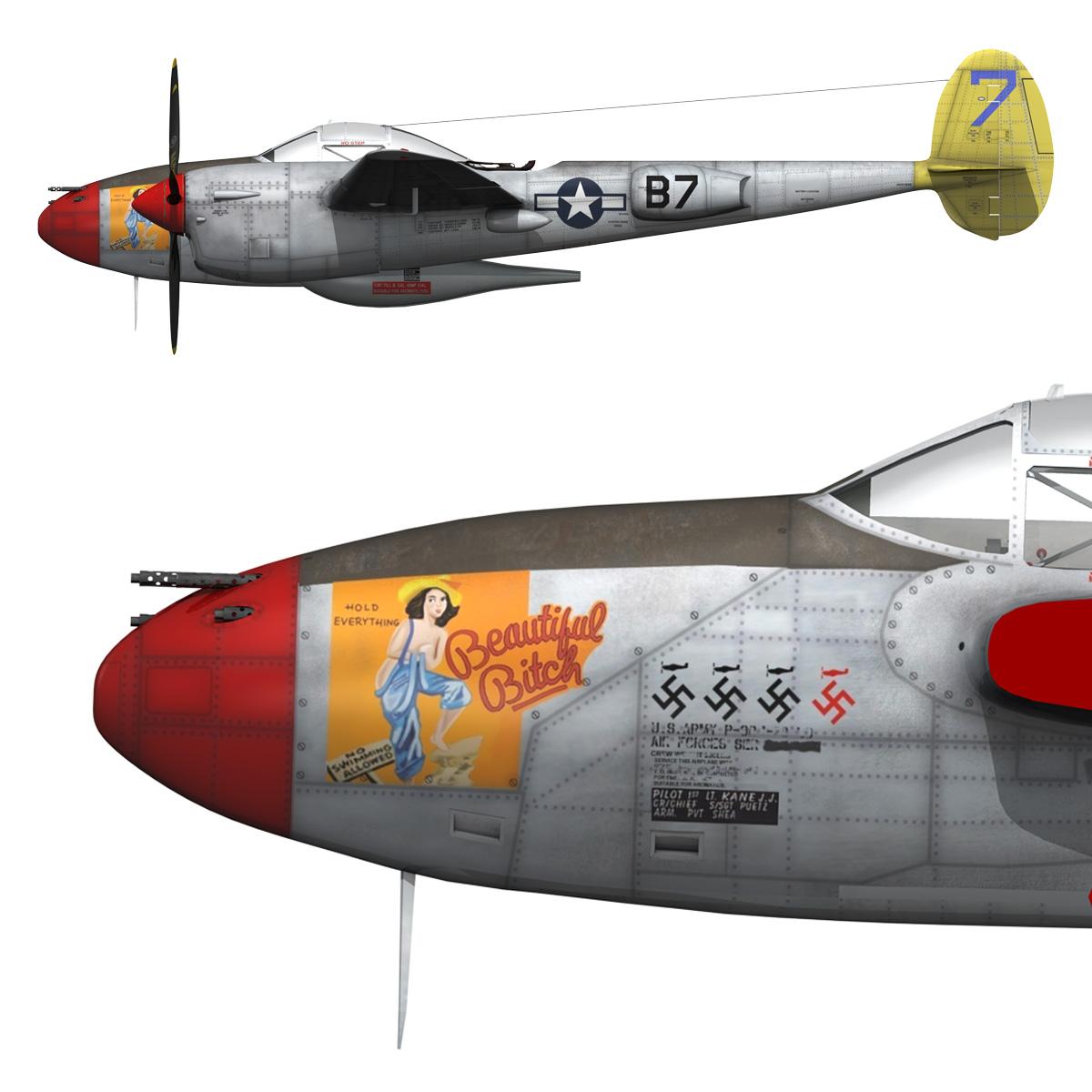 lockheed p-38 lightning – beautiful bitch 3d model fbx c4d lwo obj 272679