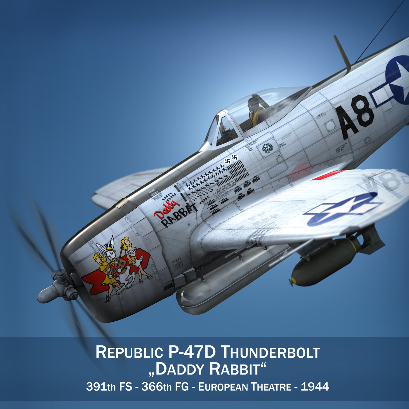 republic p-47 thunderbolt – daddy rabbit 3d model fbx c4d lwo obj 272688