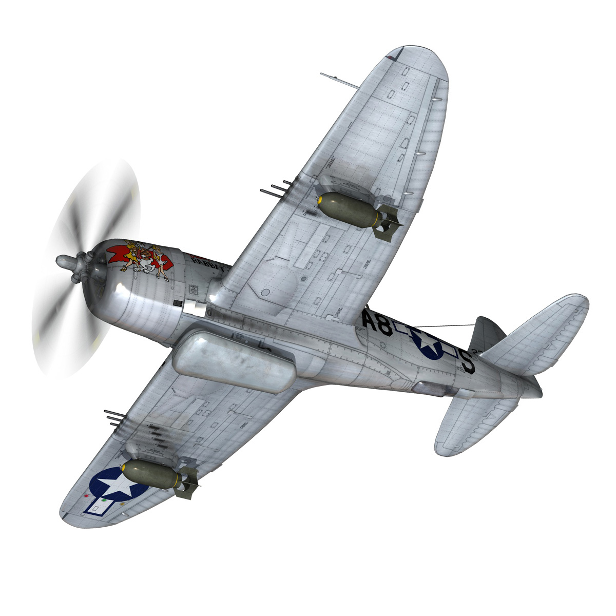 republic p-47 thunderbolt – daddy rabbit 3d model fbx c4d lwo obj 272690