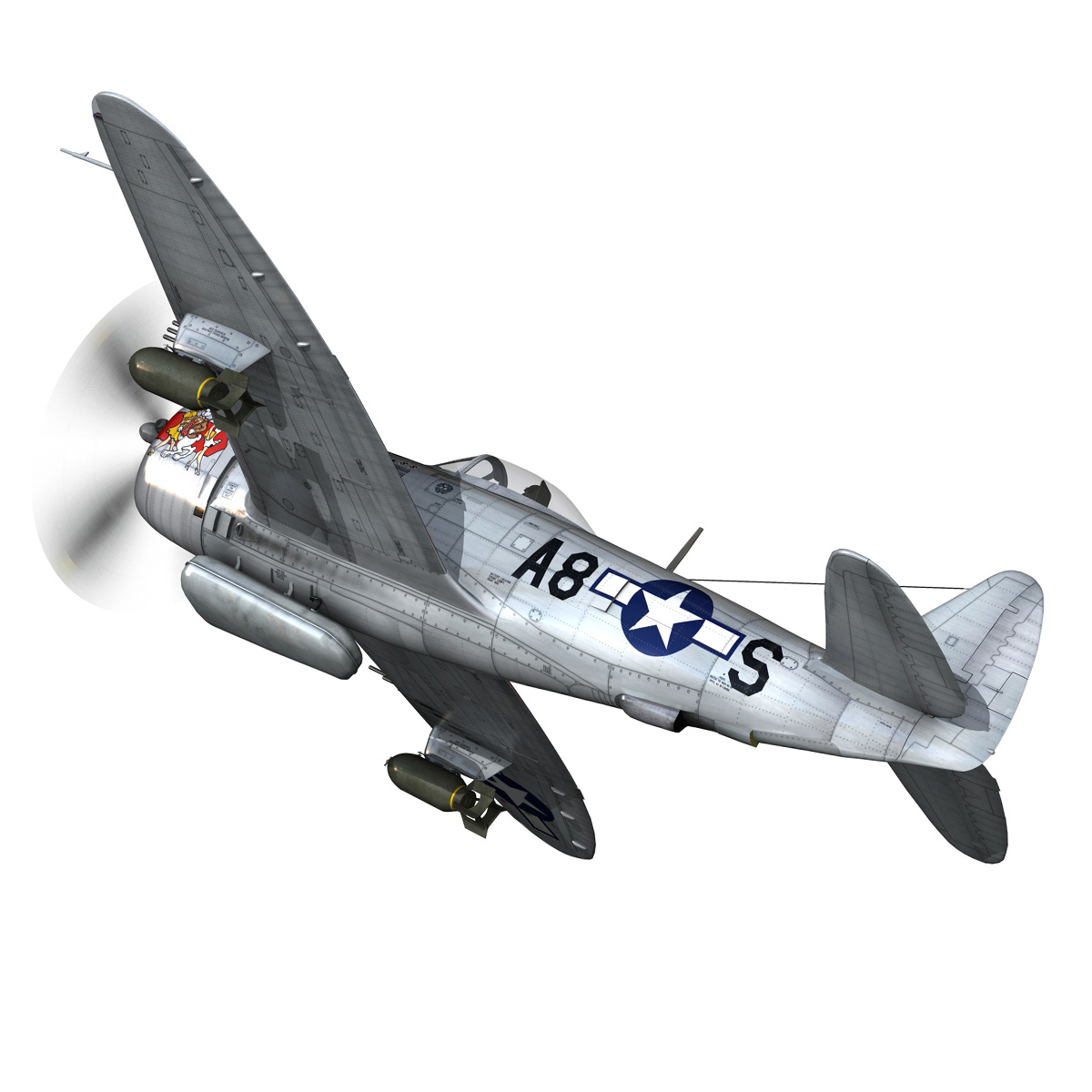 republic p-47 thunderbolt – daddy rabbit 3d model fbx c4d lwo obj 272692