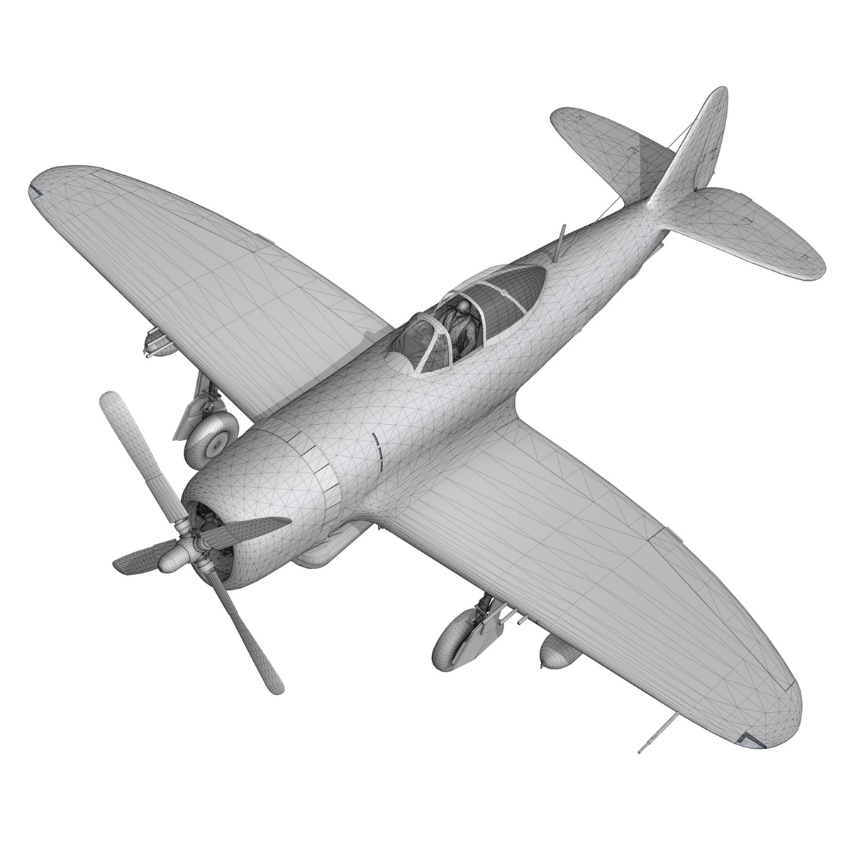 republic p-47 thunderbolt – daddy rabbit 3d model fbx c4d lwo obj 272707