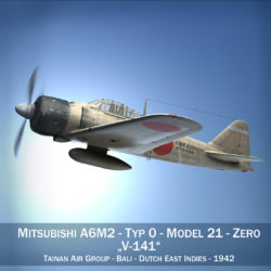 Mitsubishi A6M2 Zero - Tainan Air Group 3d model high poly virtual reality fbx lwo lws lw obj