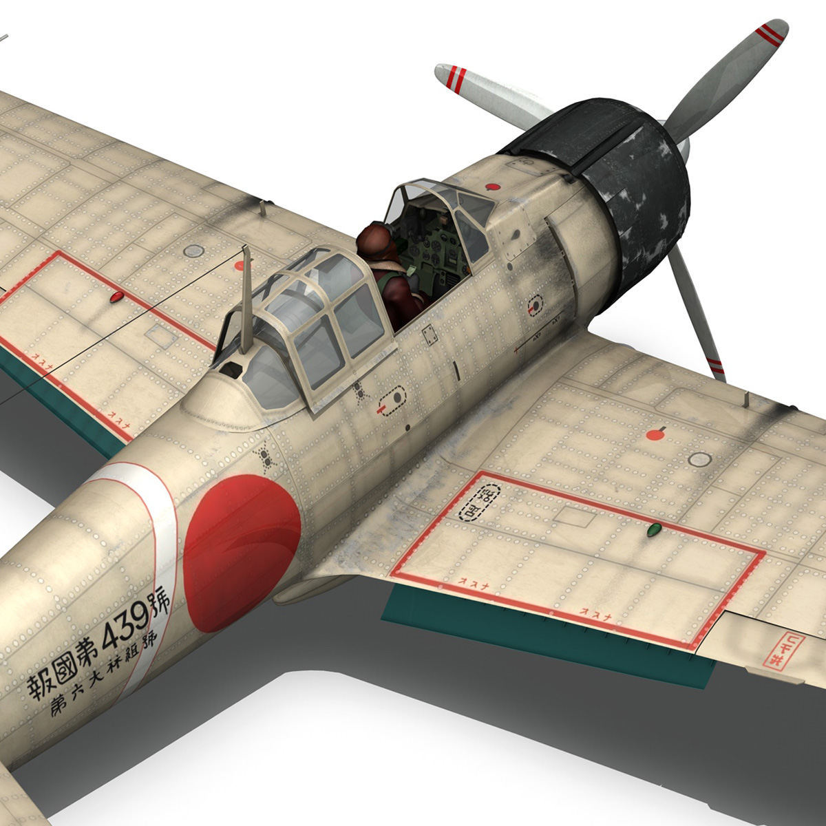 mitsubishi a6m2 zero – tainan air group 3d model fbx lwo obj 272723