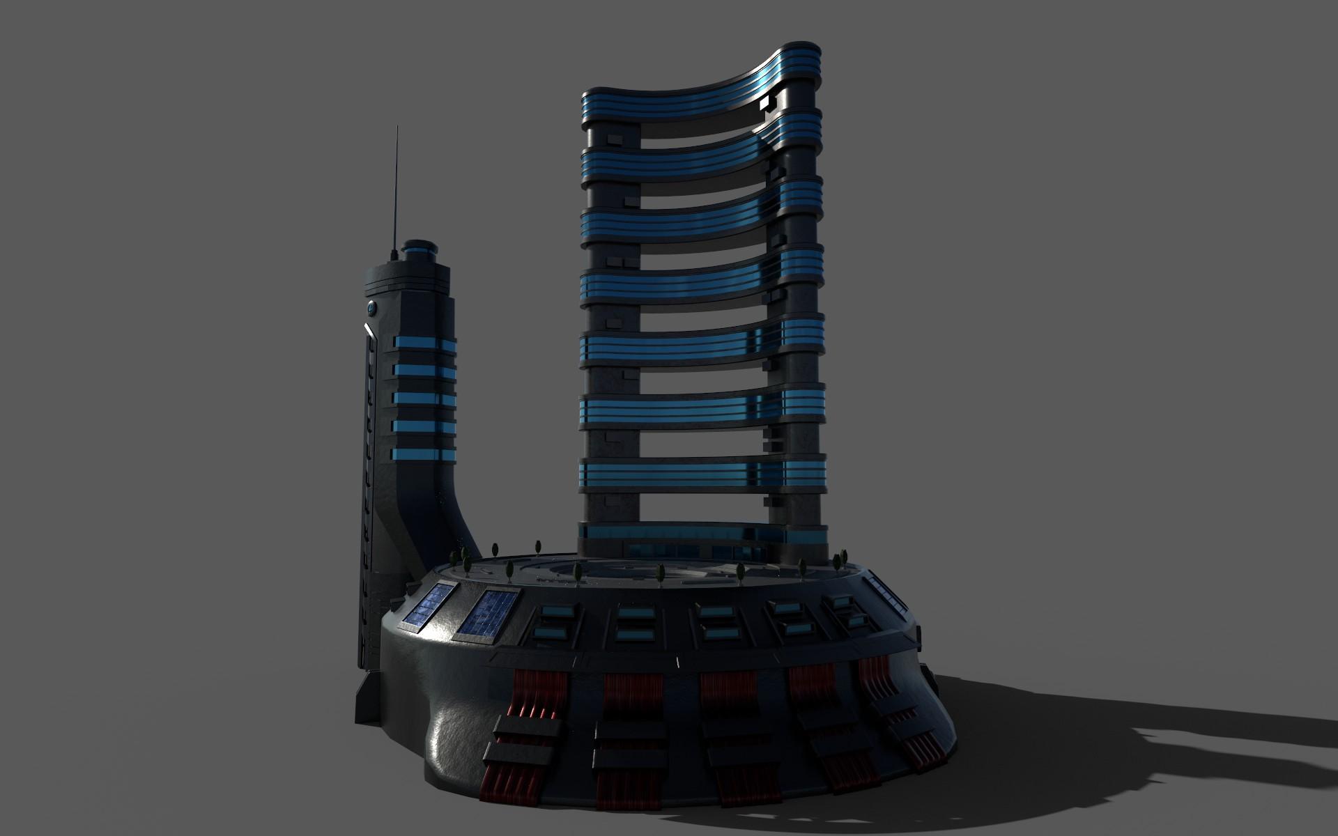 sci-fi hotel 3d model 3ds max fbx dae obj 272850