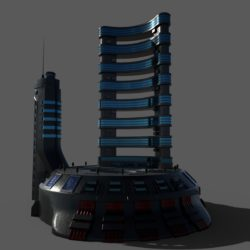 Sci-fi Hotel 3d model low poly game ready 3ds max fbx dae obj Collada dae