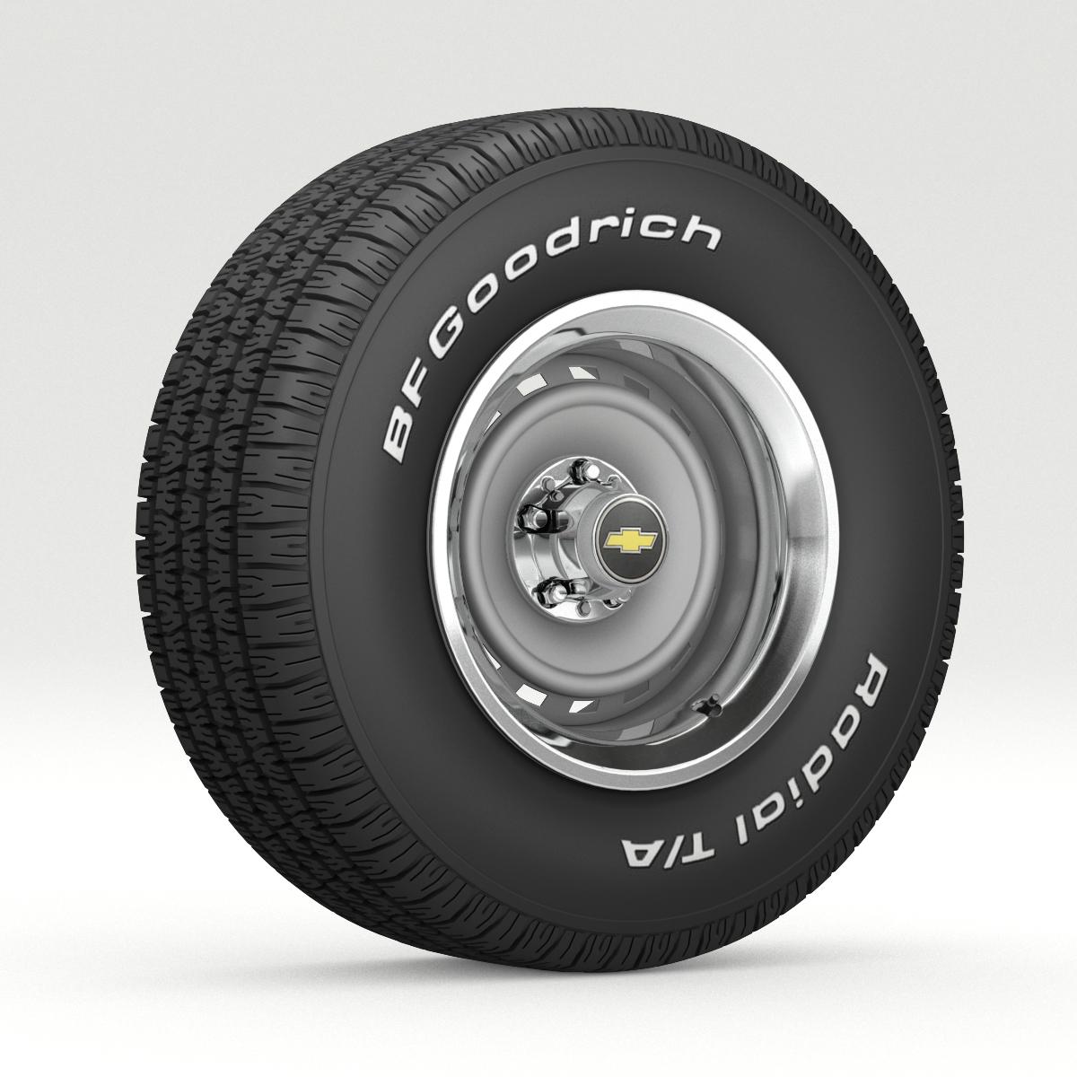 Vintage Chevrolet wheel and tire 8 3d model 3ds max fbx obj 272921