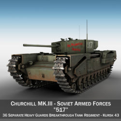Churchill MK III - 517 - Soviet Army 3d model high poly virtual reality 3ds fbx c4d lwo lws lw obj