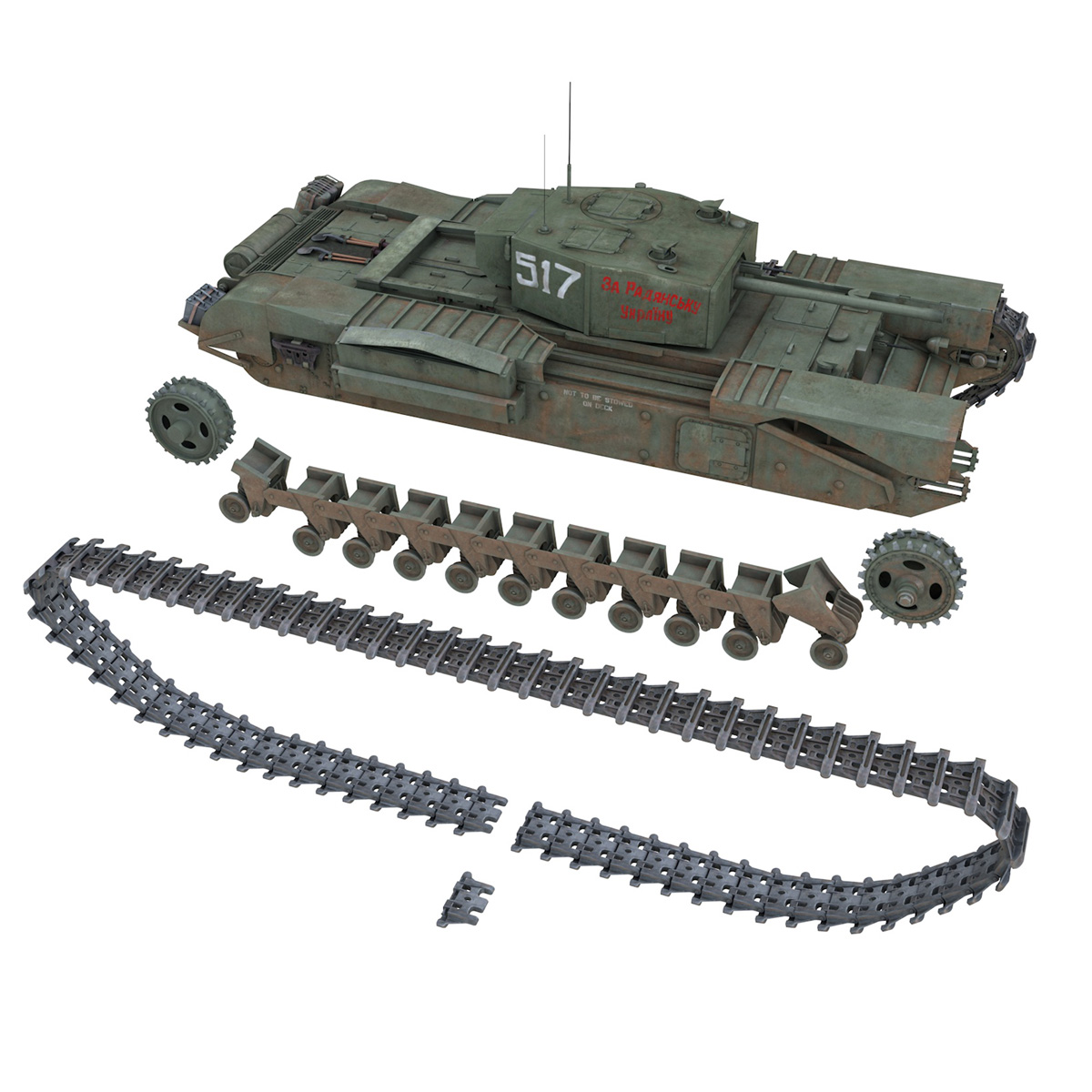 churchill mk iii - 517 - soviet army 3d загвар 3ds fbx c4d lwo obj 272983