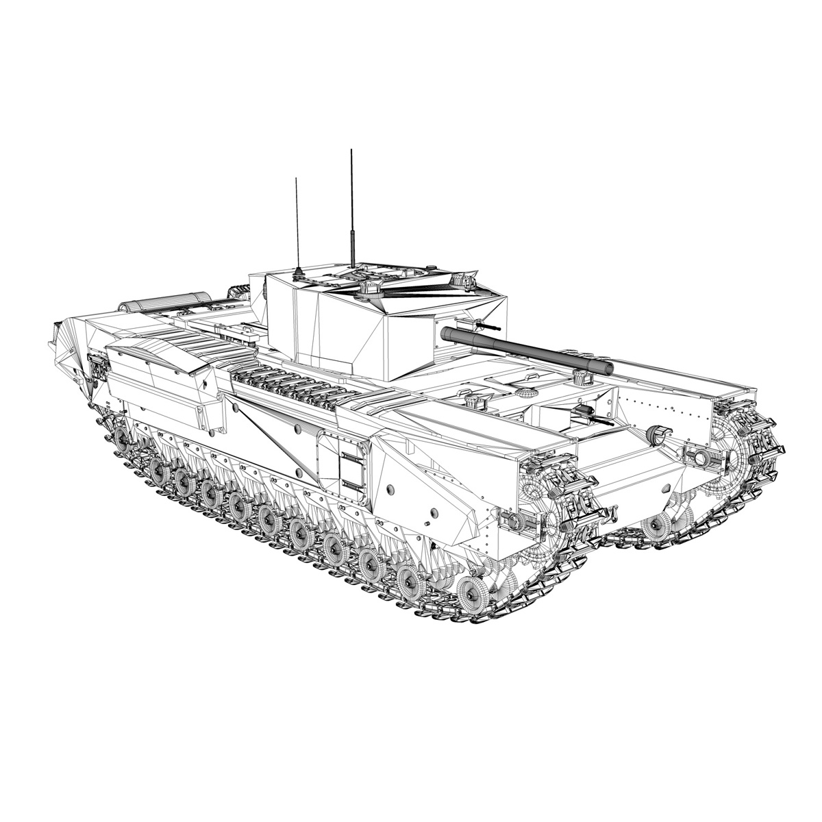 churchill mk iii - 517 - soviet army 3d загвар 3ds fbx c4d lwo obj 272985
