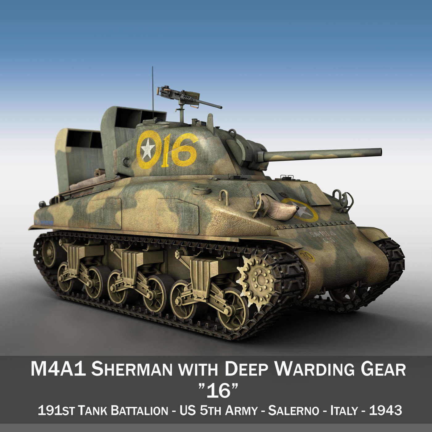 m4a1 sherman – 16 3d model 3ds fbx c4d lwo obj 273050