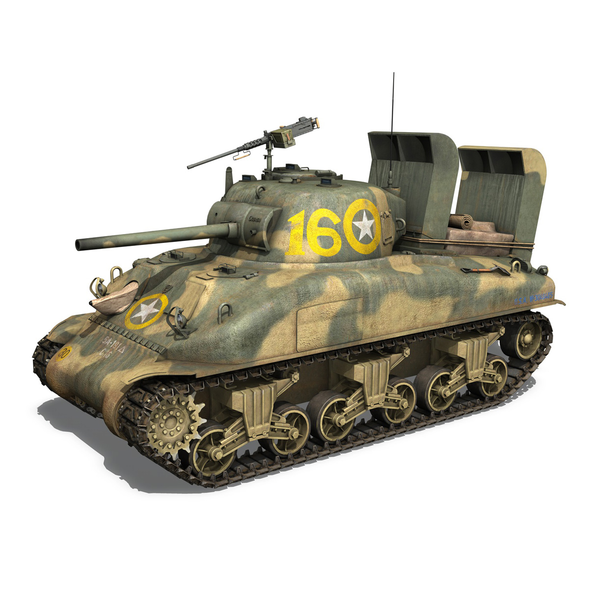 m4a1 sherman – 16 3d model 3ds fbx c4d lwo obj 273052