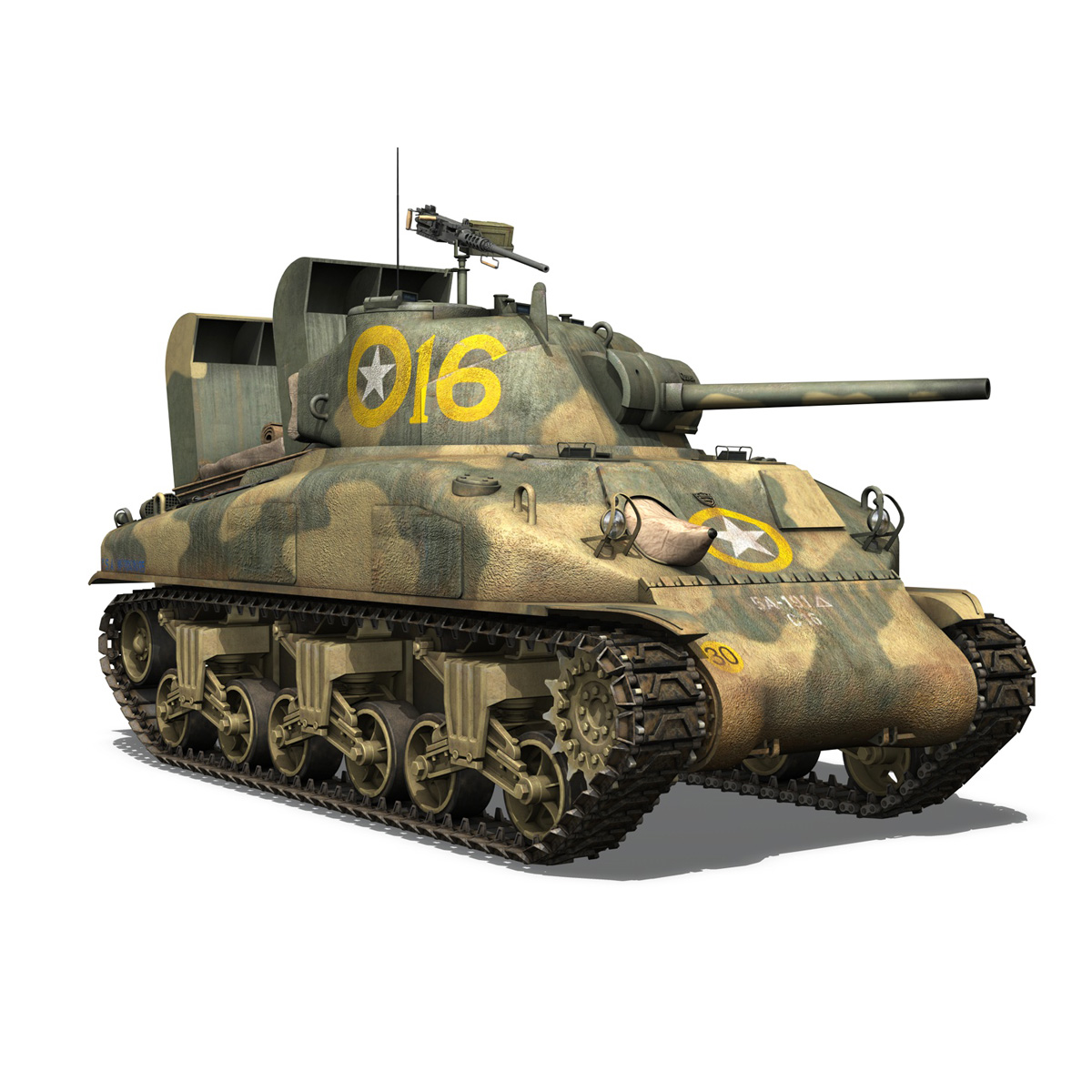 m4a1 sherman – 16 3d model 3ds fbx c4d lwo obj 273057
