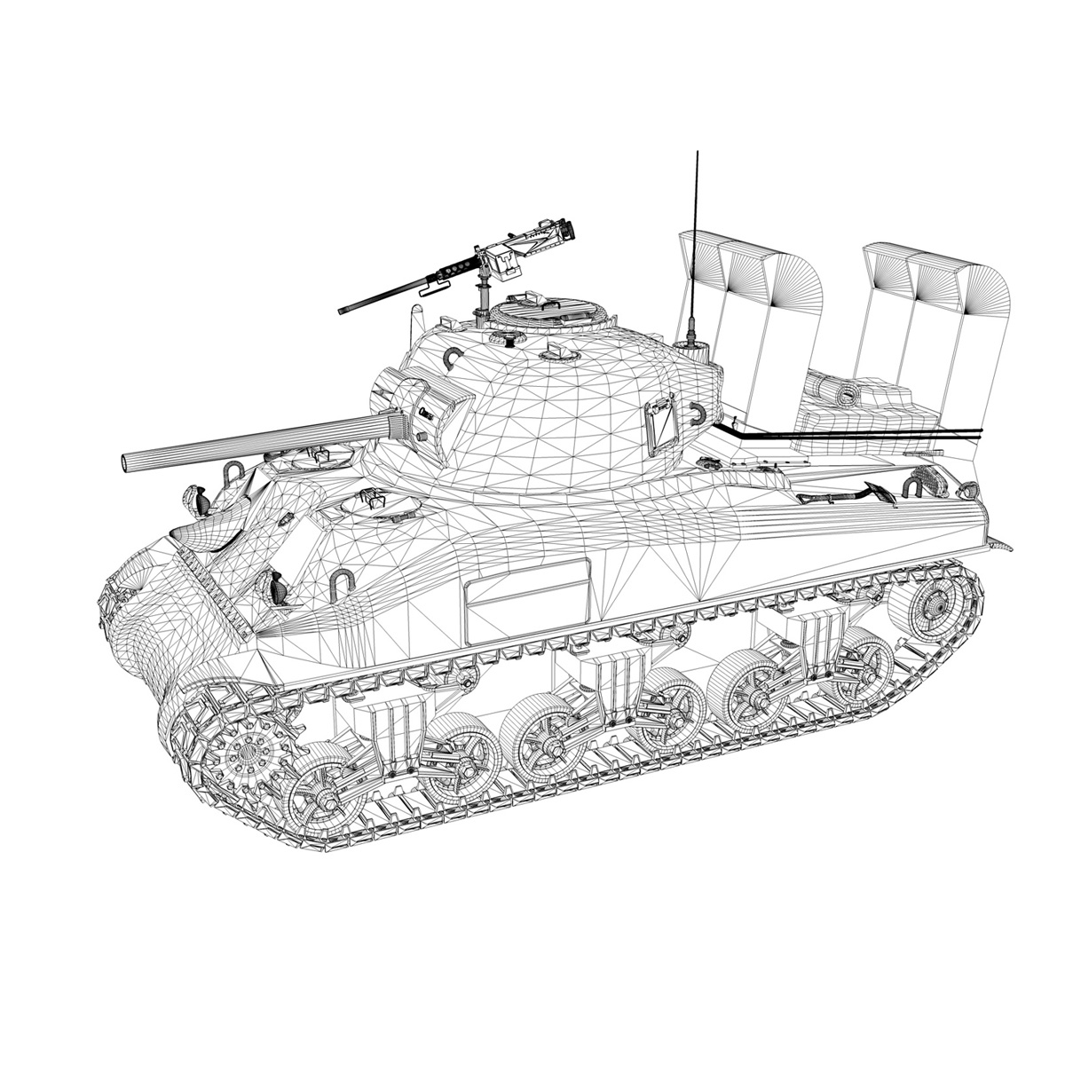 m4a1 sherman – 16 3d model 3ds fbx c4d lwo obj 273061