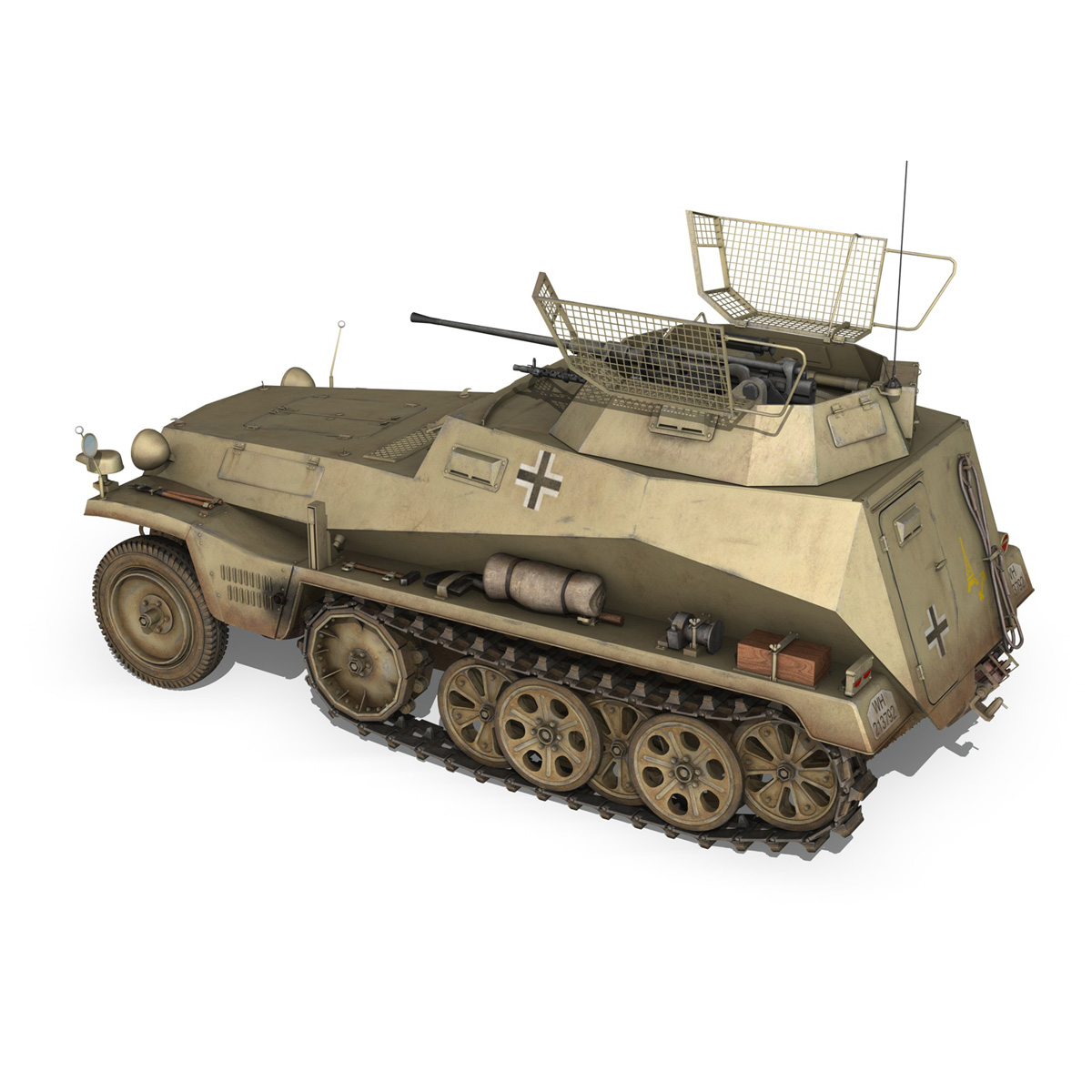 sd.kfz 250 – reconnaissance halftruck – 23 pzdiv 3d model 3ds fbx c4d lwo obj 273094