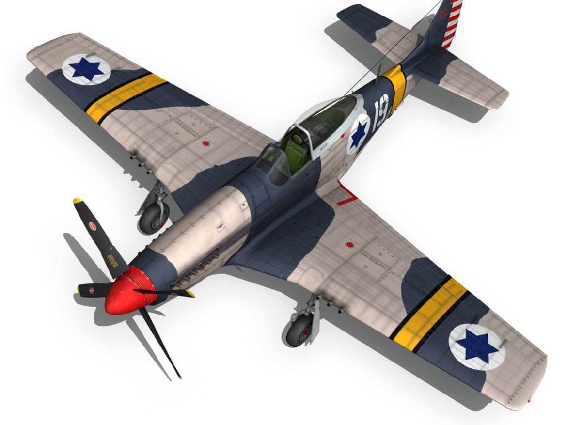 North American P-51D Mustang - IDF 3d model high poly virtual reality fbx c4d lwo lws lw obj