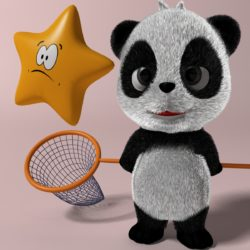 Cartoon panda RIGGED 3d model 0