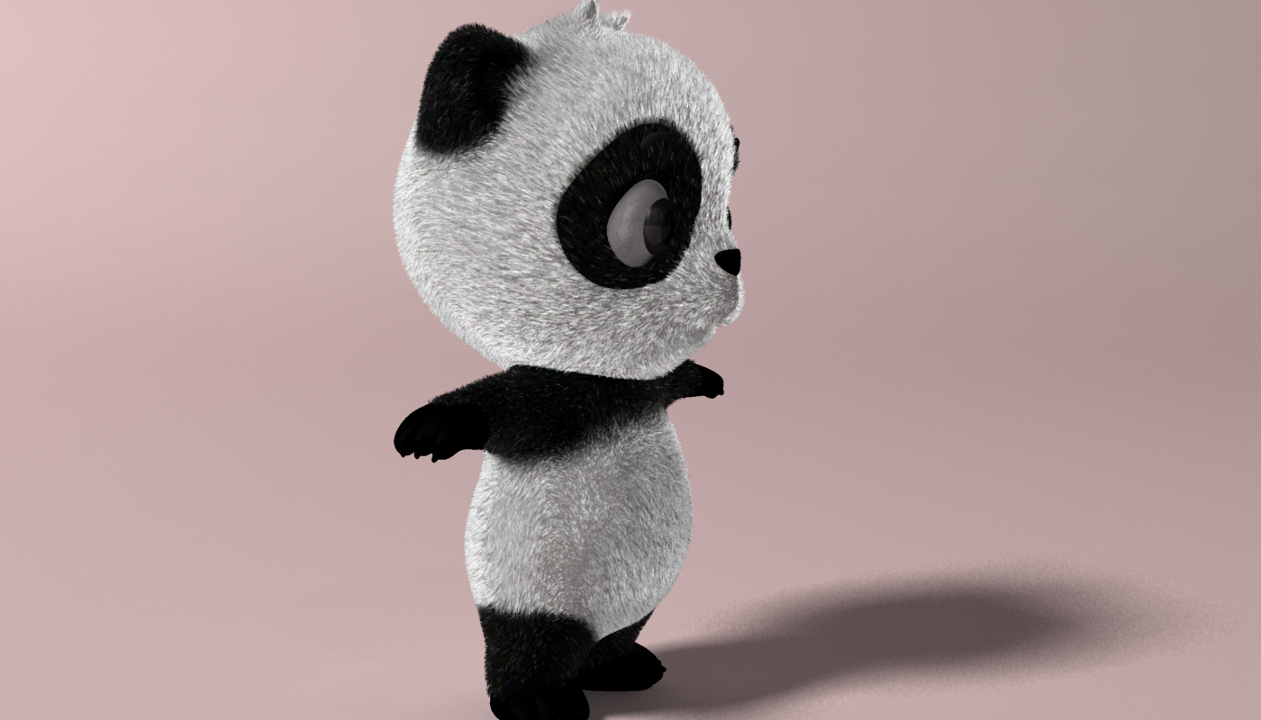 Cartoon panda RIGGED 3d model 3ds max fbx  obj 273391