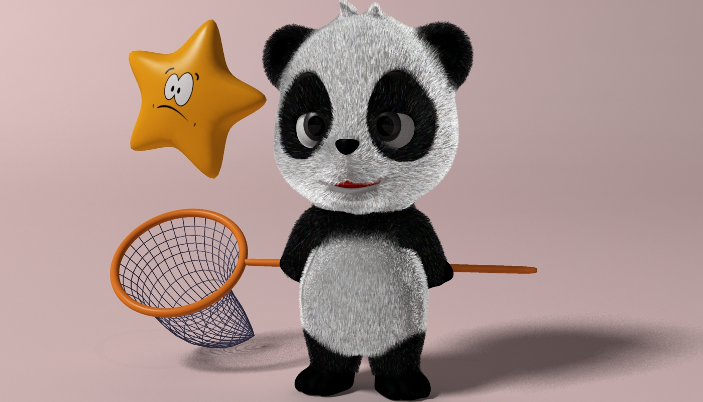 cartoon panda rigged 3d model 3ds max fbx  obj 273392