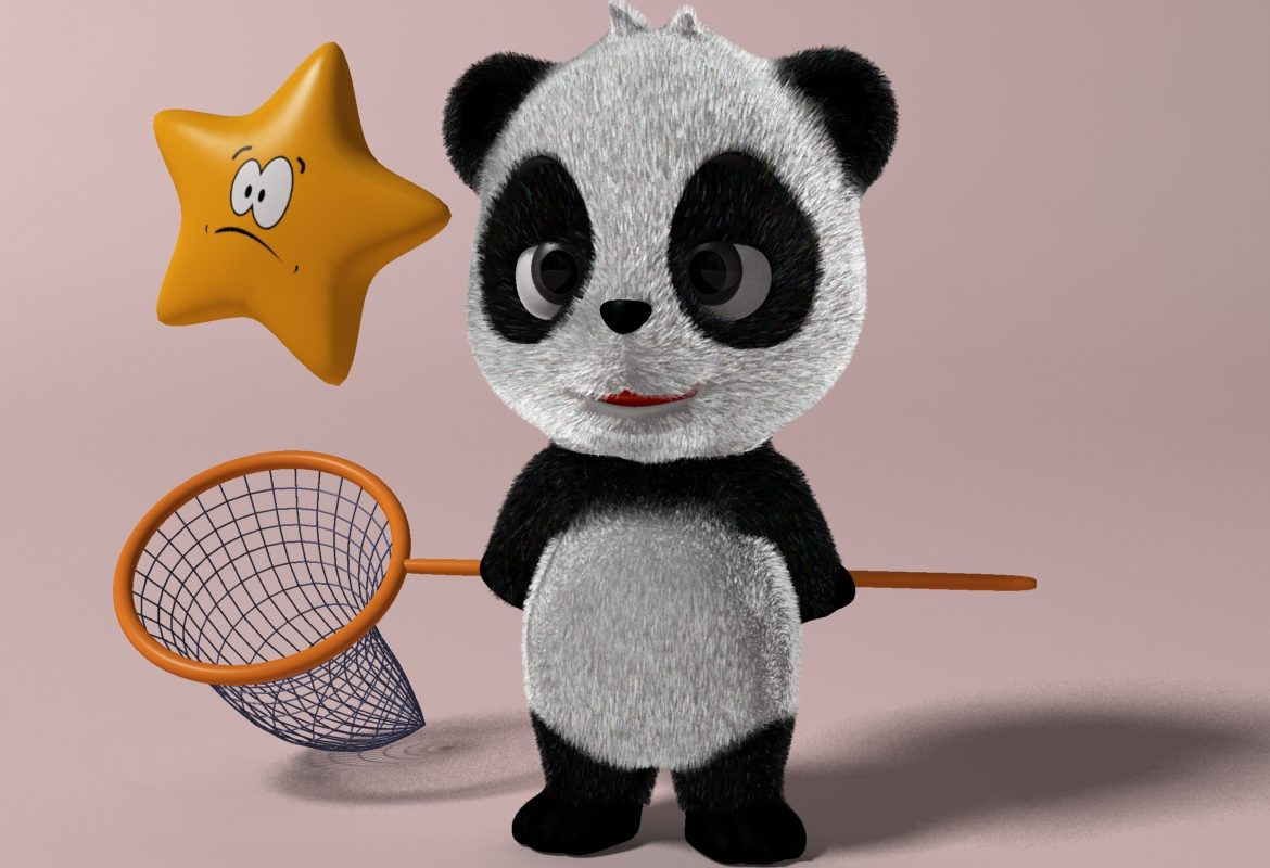 Cartoon panda RIGGED 3d model 3ds max fbx  obj